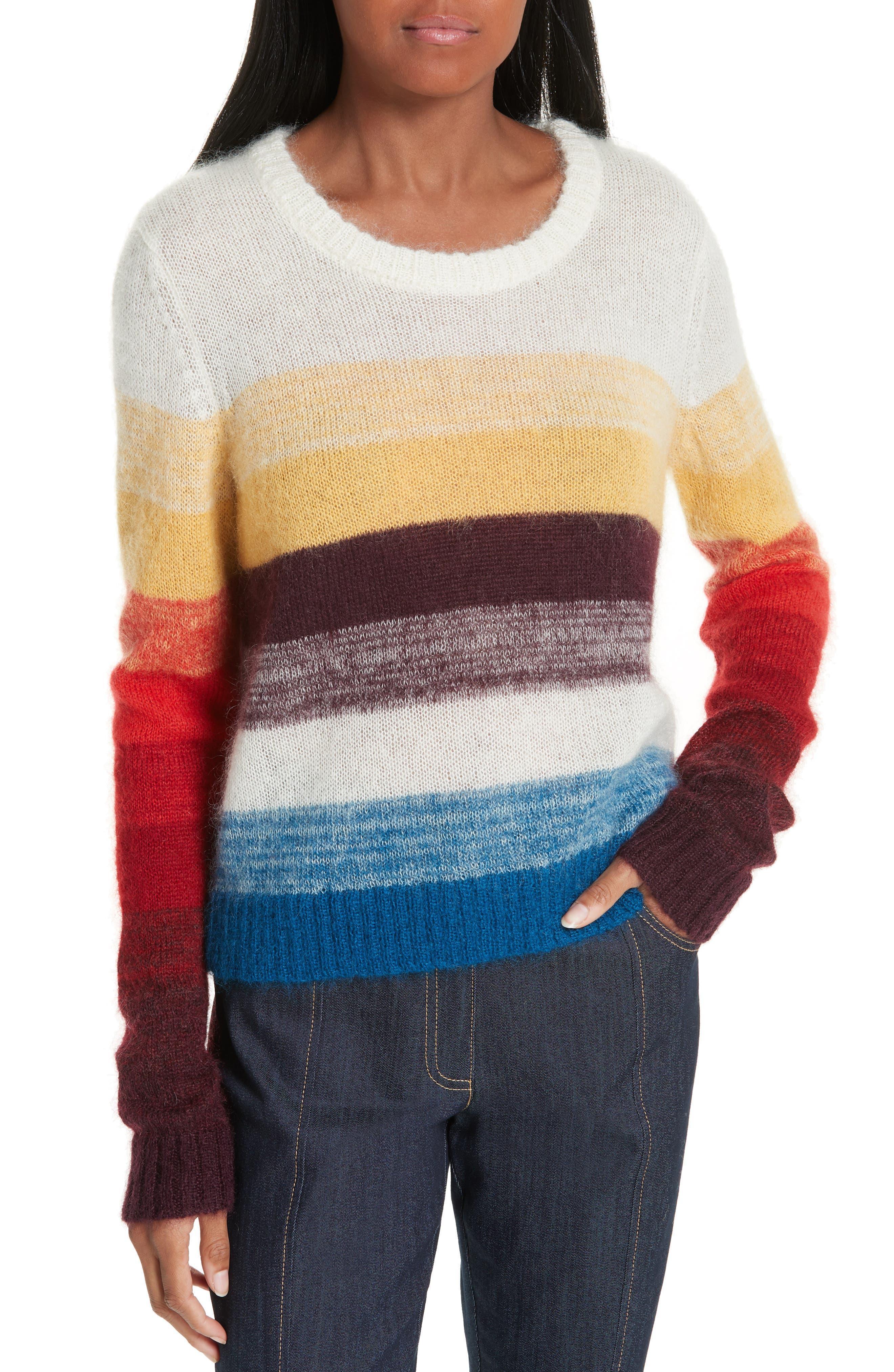 Cinq A Sept Alizeh Stripe Mohair & Wool Sweater, Burgundy