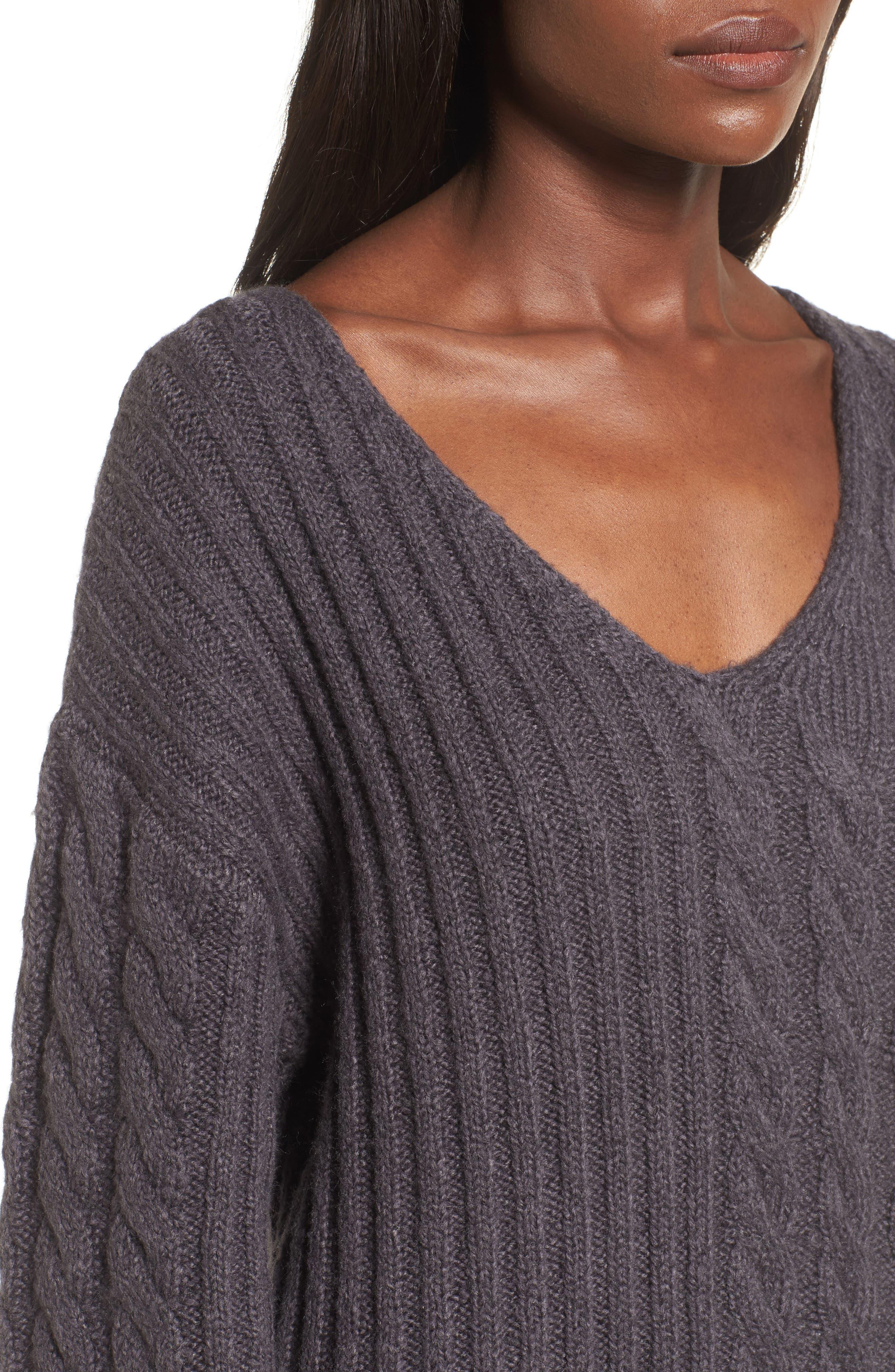 Mix Stitch Cotton Blend Sweater,                             Alternate thumbnail 4, color,                             021