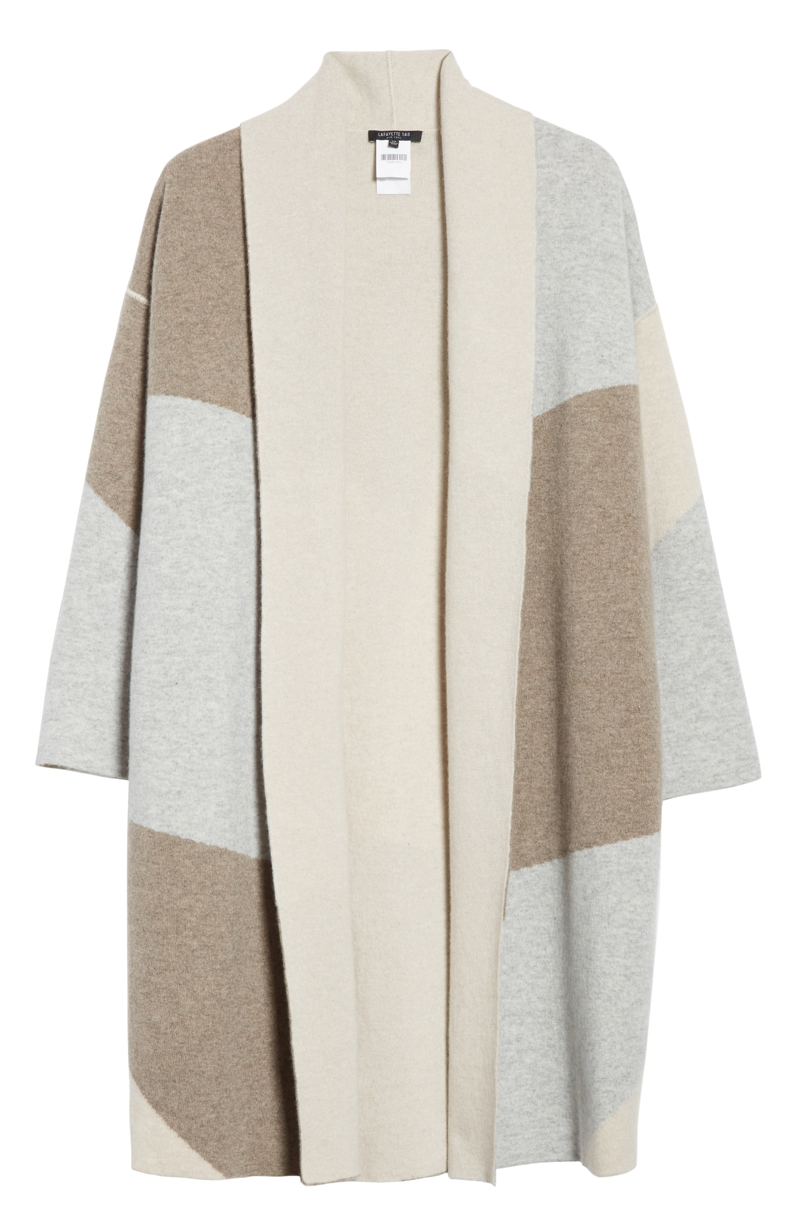 Stretch Cashmere Reversible Felted Colorblock Cardigan,                             Alternate thumbnail 6, color,                             020