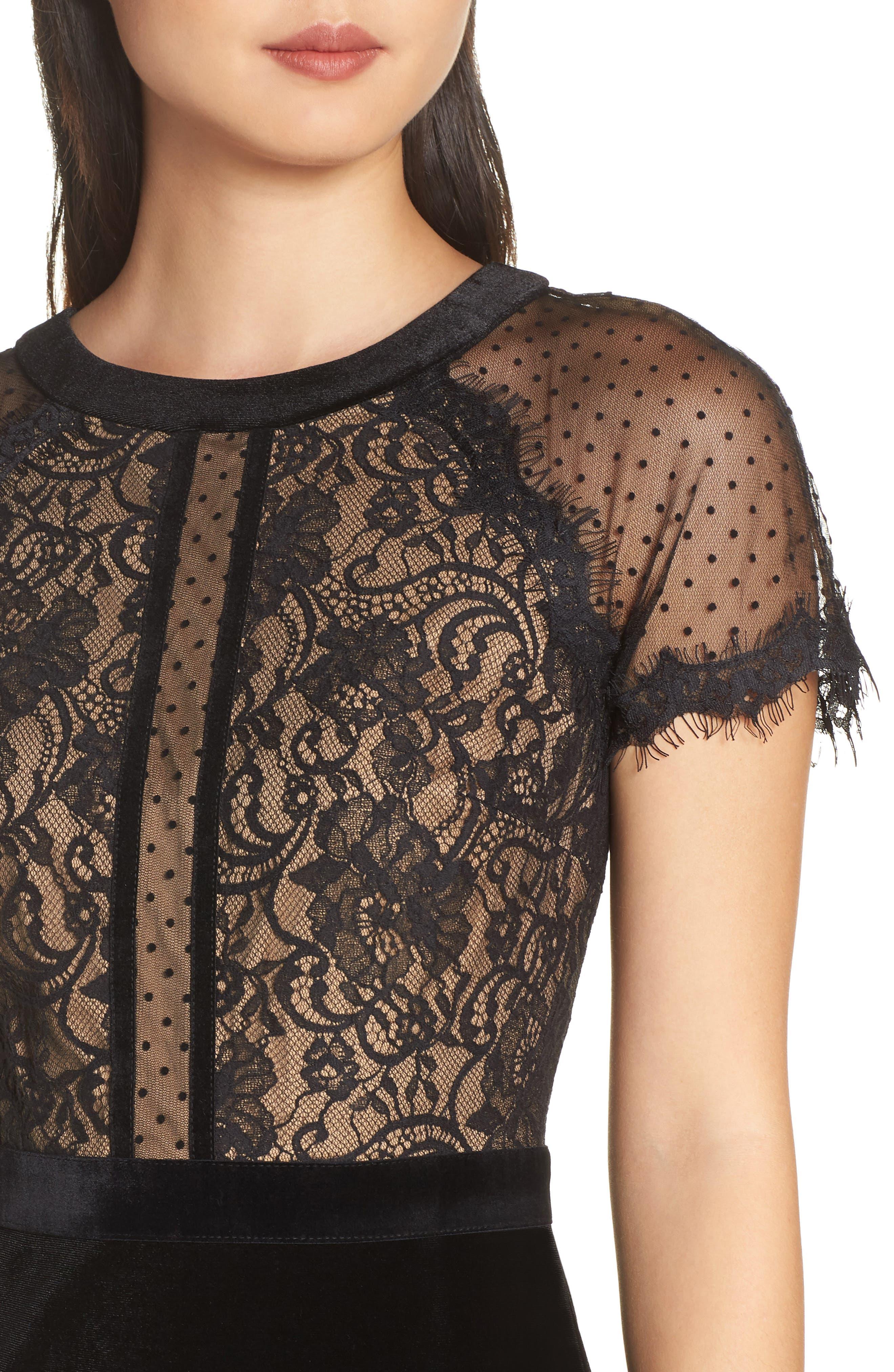 TADASHI SHOJI,                             Lace & Velvet Dress,                             Alternate thumbnail 5, color,                             BLACK/ NUDE
