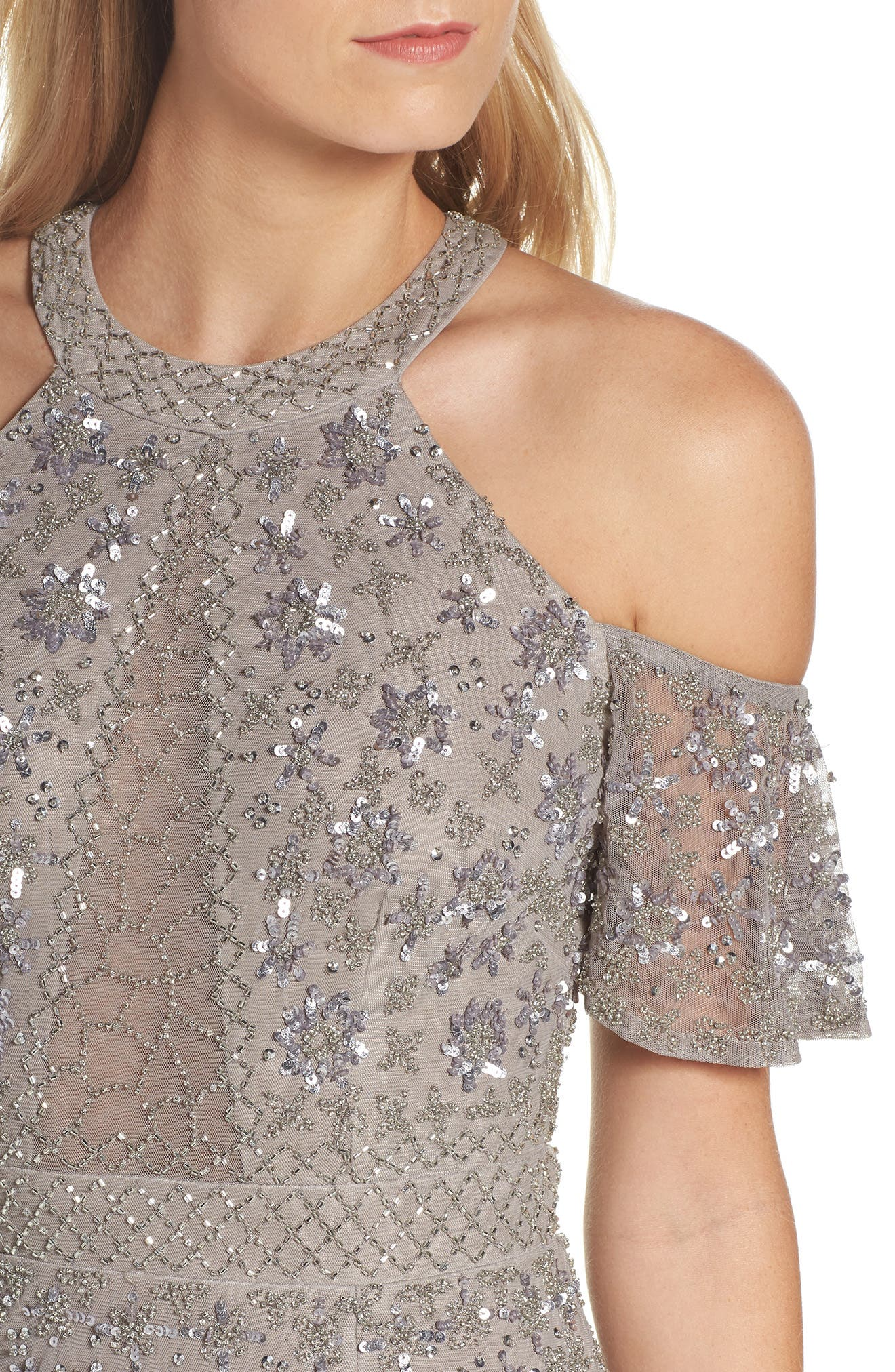 Beaded Cold Shoulder Gown,                             Alternate thumbnail 4, color,                             046