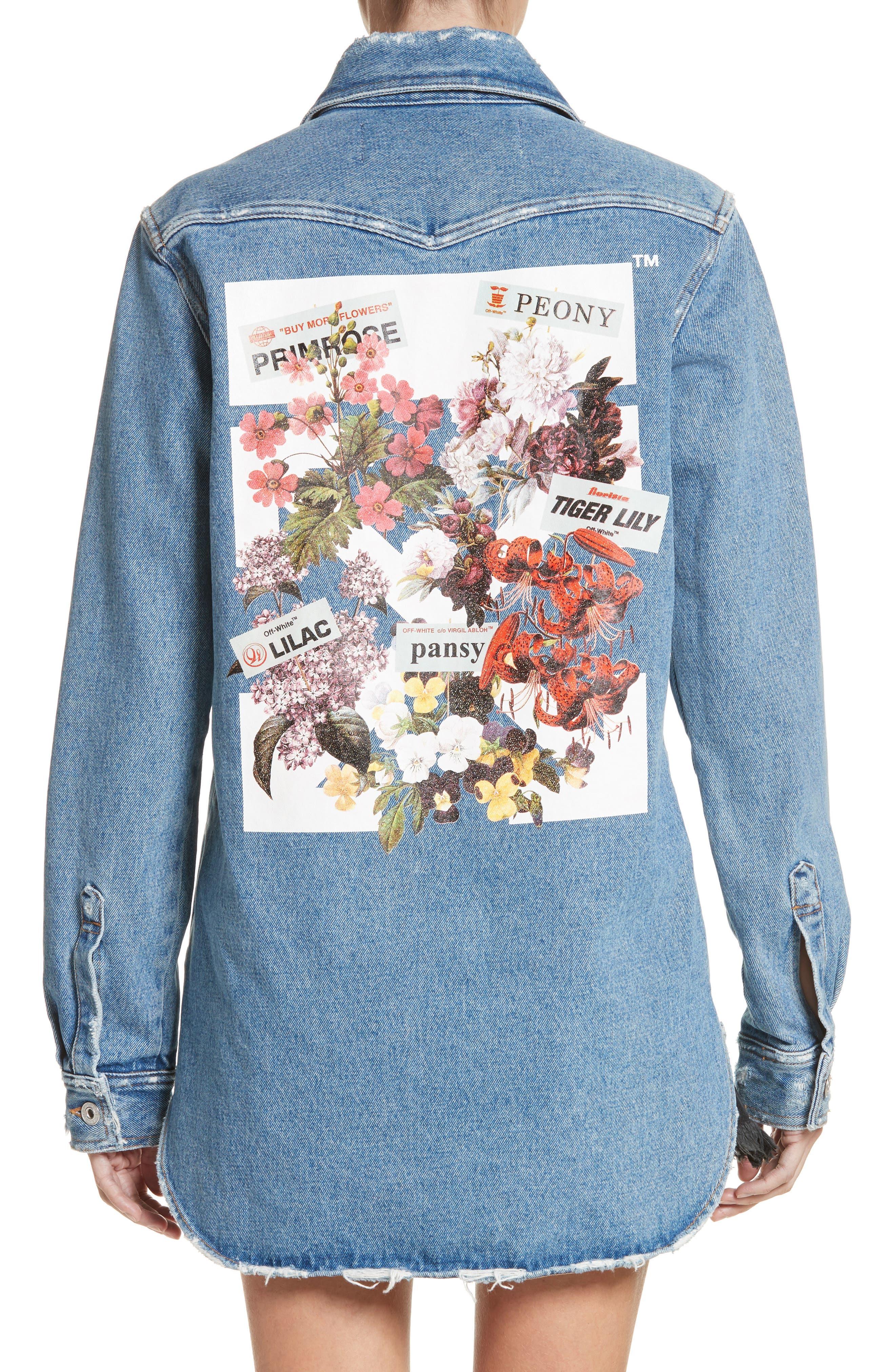 Off White Flower Shop Denim Shirt,                             Alternate thumbnail 2, color,                             400