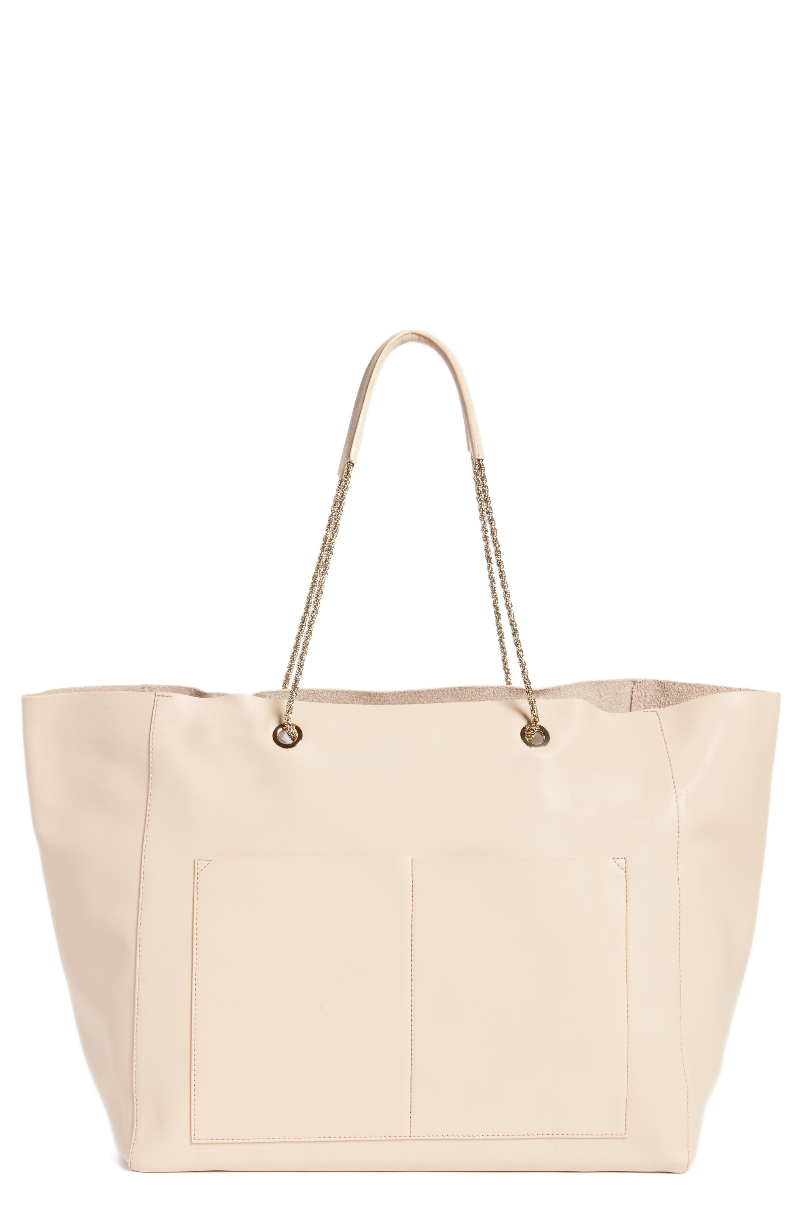 Gaby Leather Tote,                         Main,                         color, NUDE