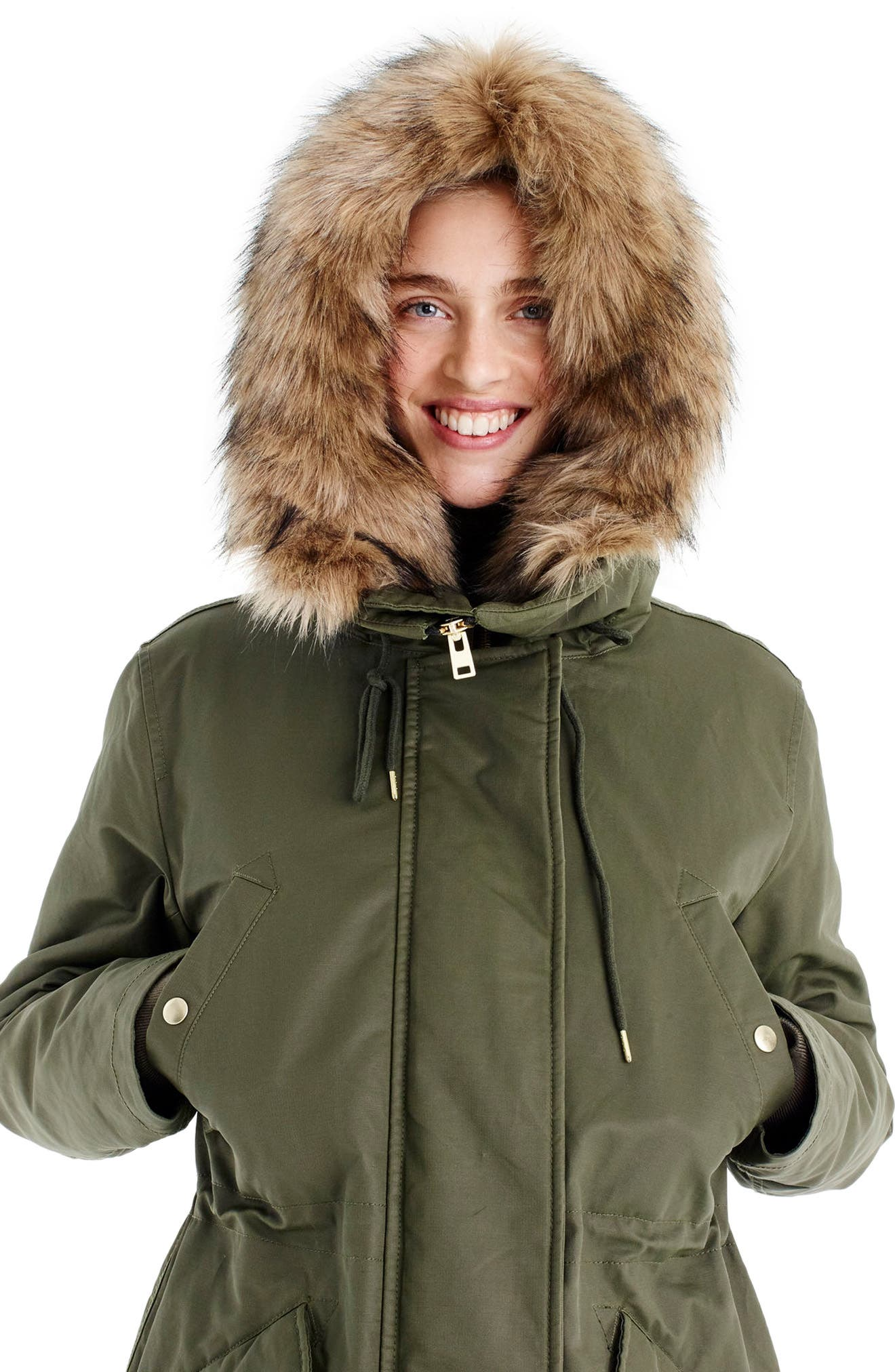 Perfect Winter Parka with Faux Fur Trim,                             Alternate thumbnail 4, color,                             WILD OLIVE
