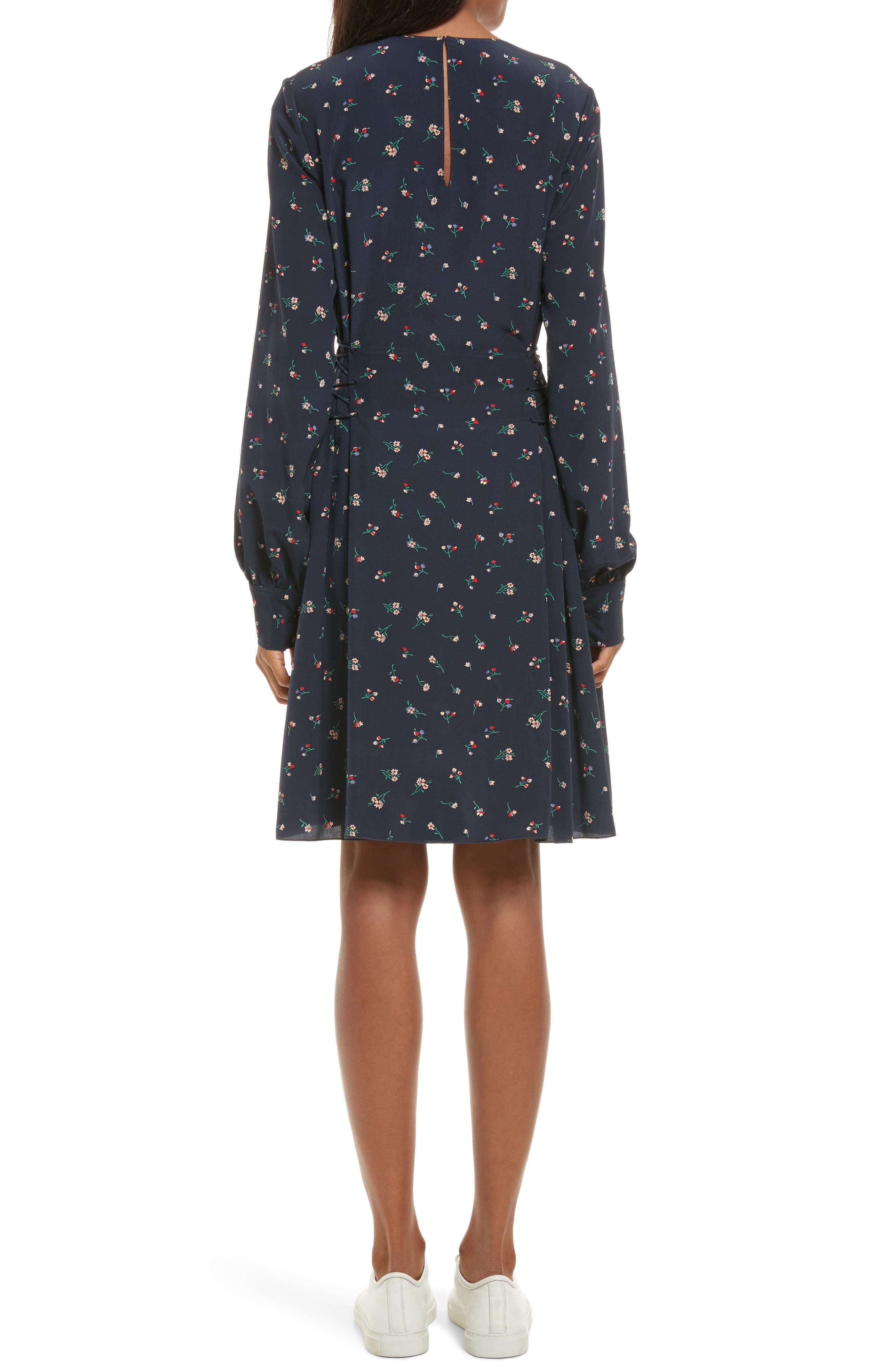 THEORY,                             Floral Print Lace-Up Silk Dress,                             Alternate thumbnail 2, color,                             491