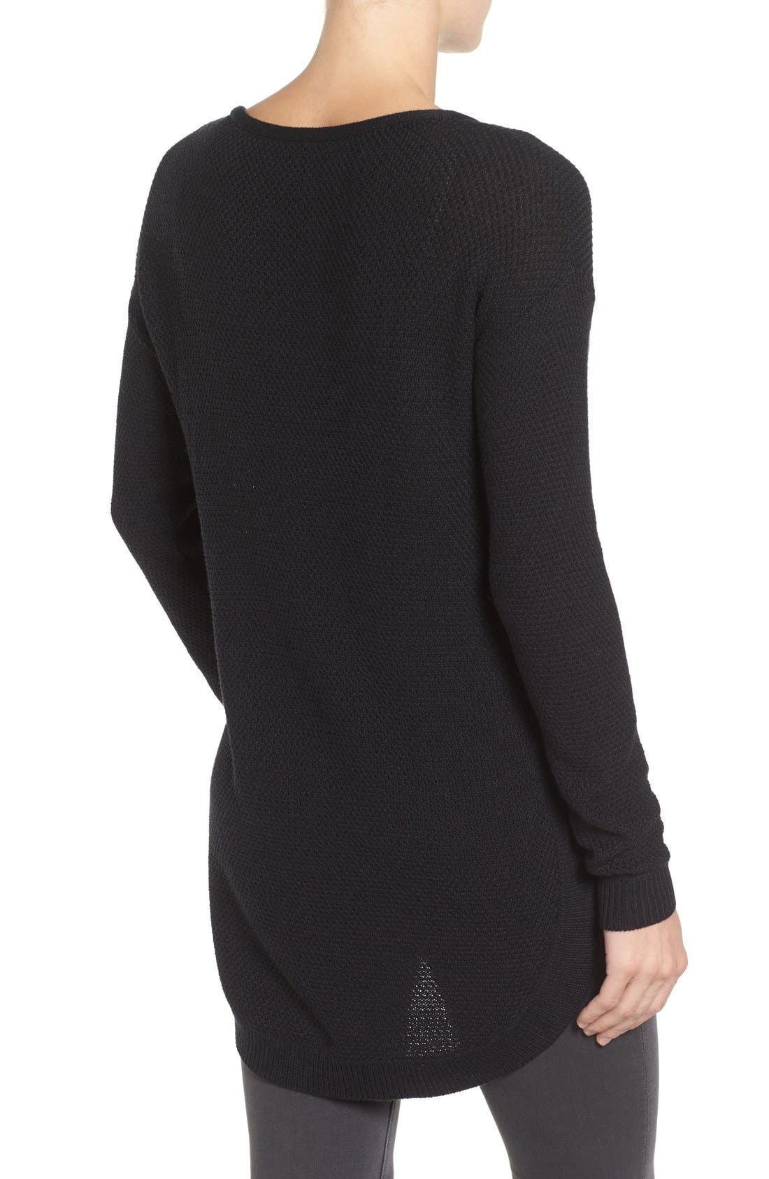 Texture Knit Tunic,                             Alternate thumbnail 4, color,                             BLACK