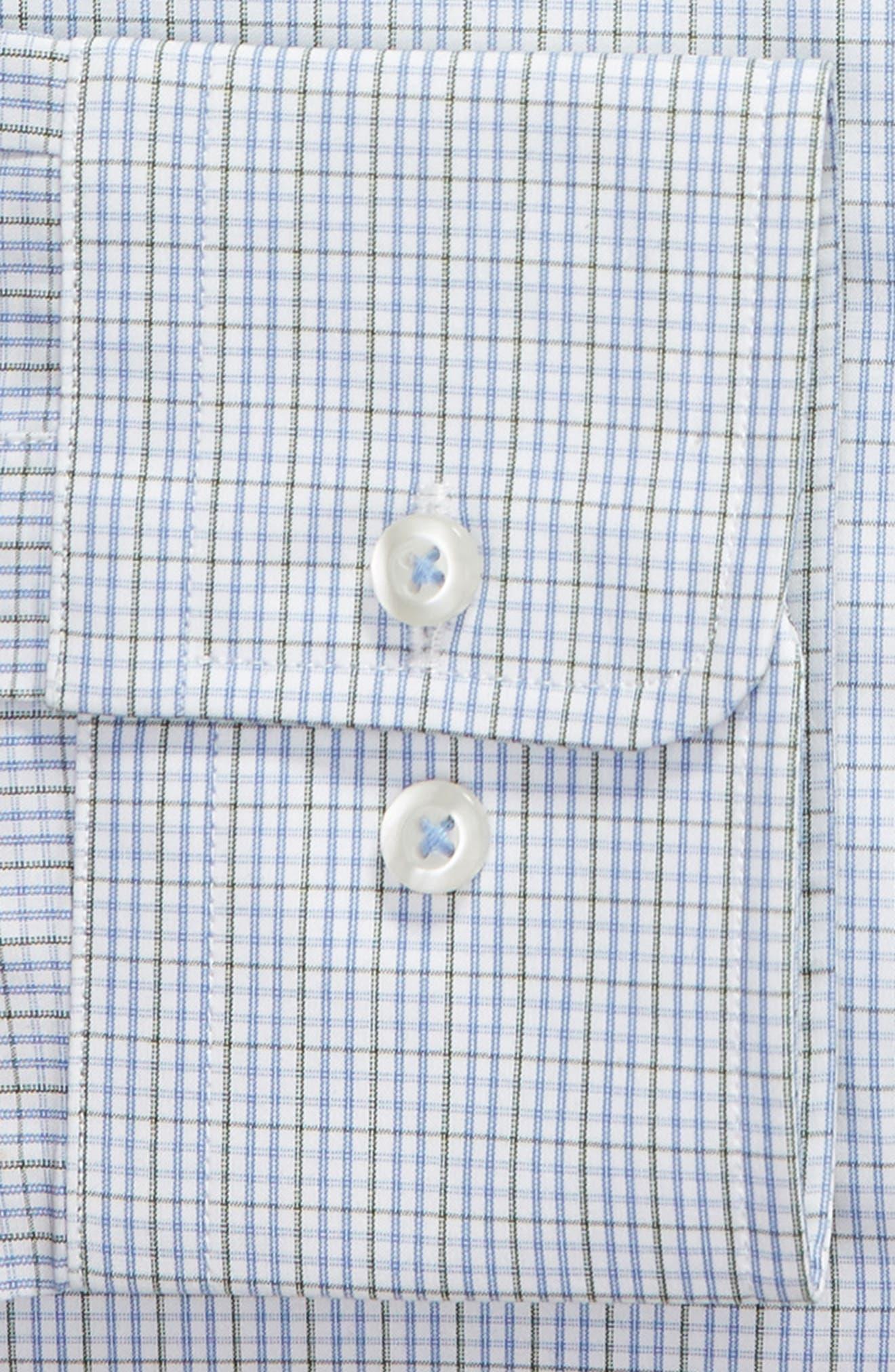 Trim Fit Check Dress Shirt,                             Alternate thumbnail 6, color,                             OLIVE