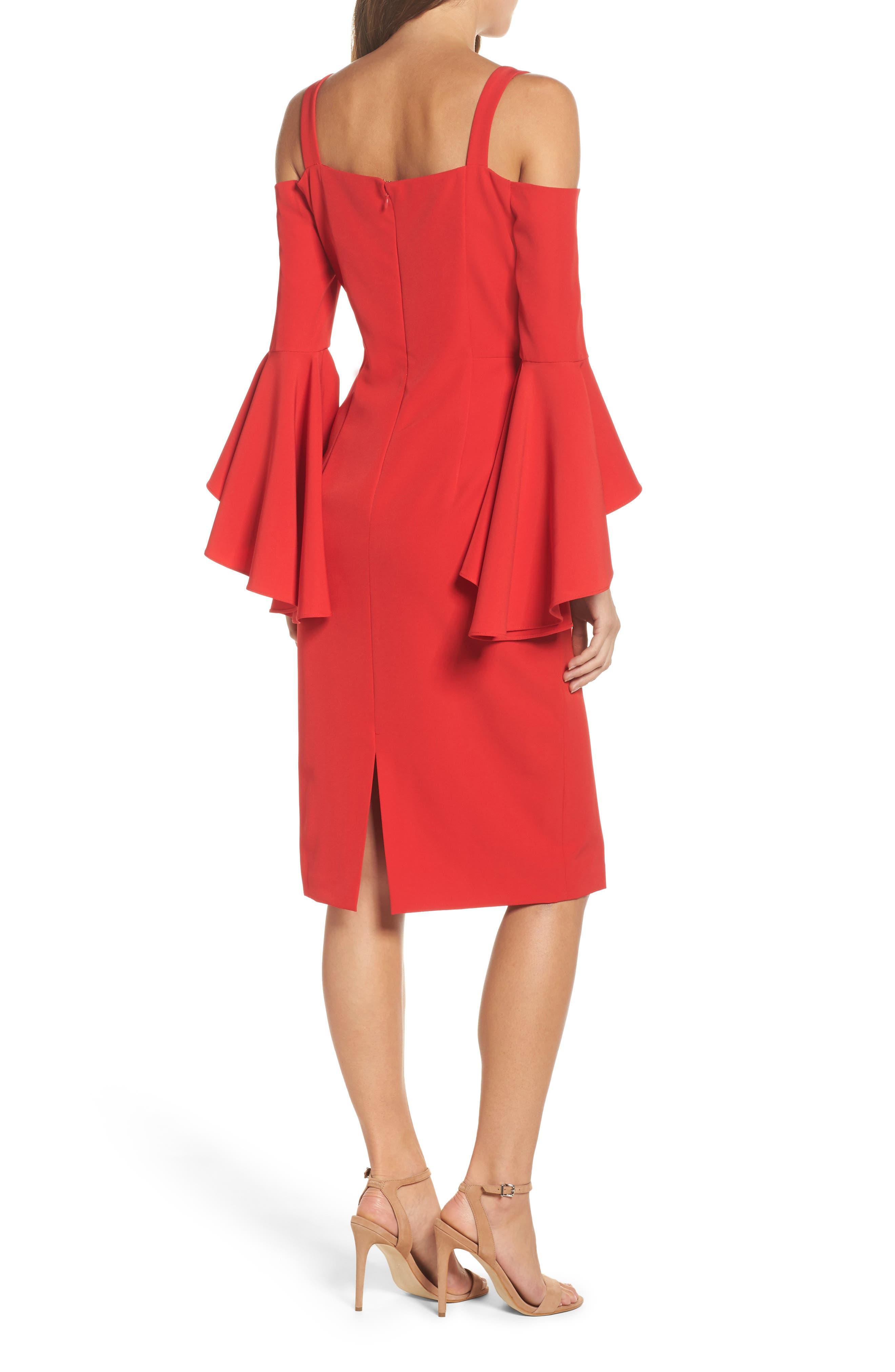 Cold Shoulder Crepe Sheath Dress,                             Alternate thumbnail 2, color,