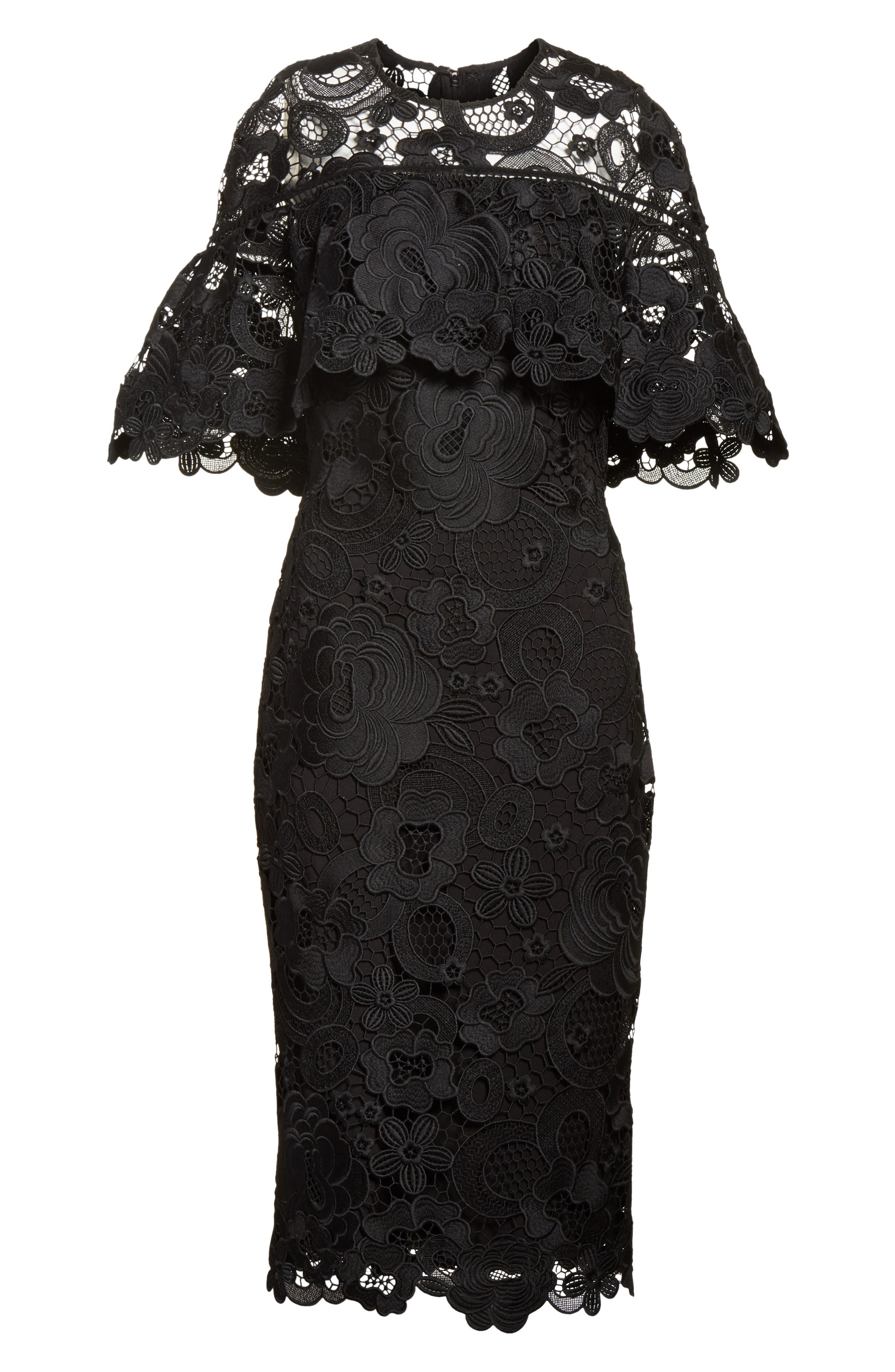 Lace Capelet Sheath Dress,                             Alternate thumbnail 6, color,                             001