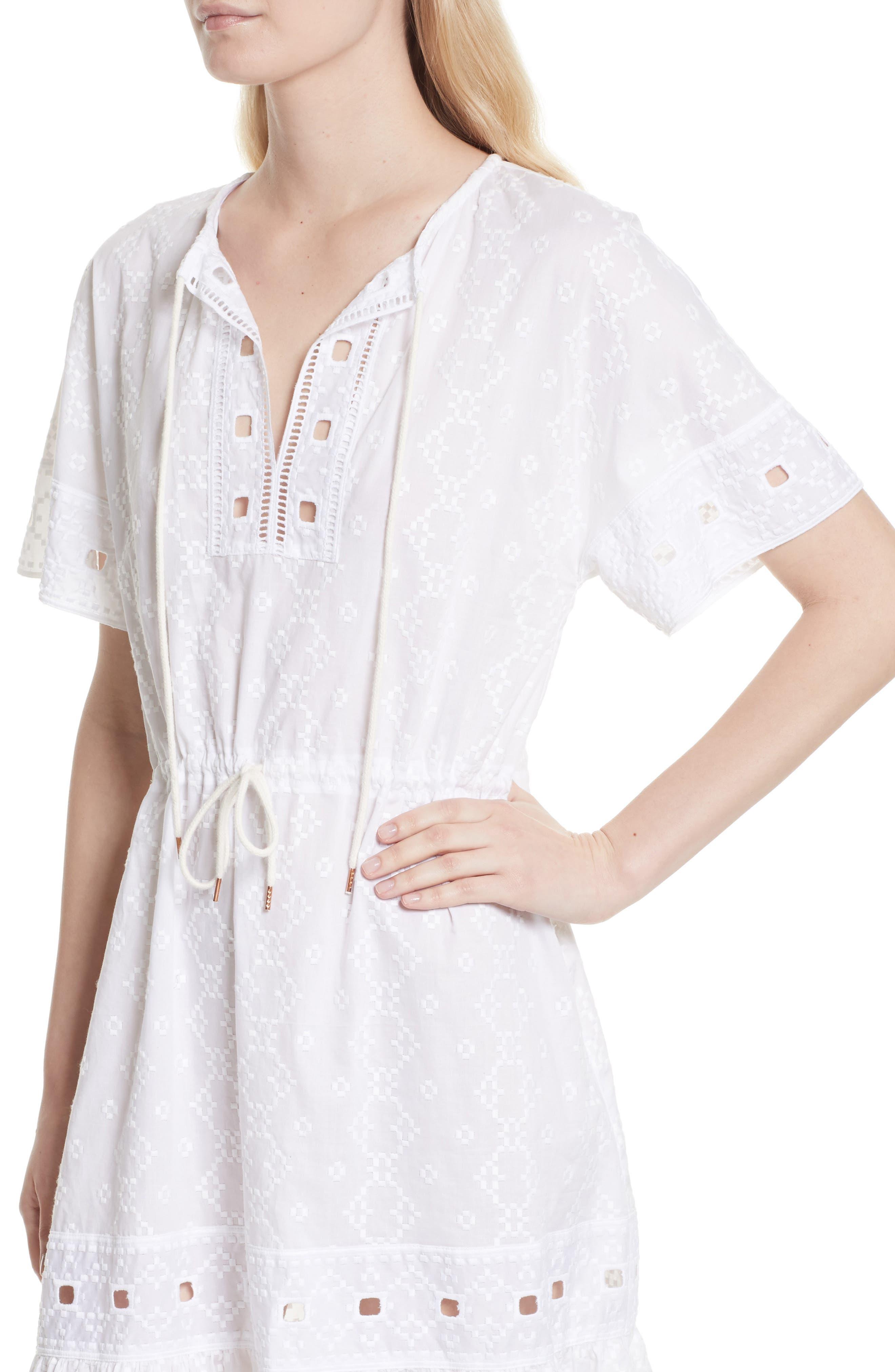 Cotton Eyelet Dress,                             Alternate thumbnail 4, color,                             101