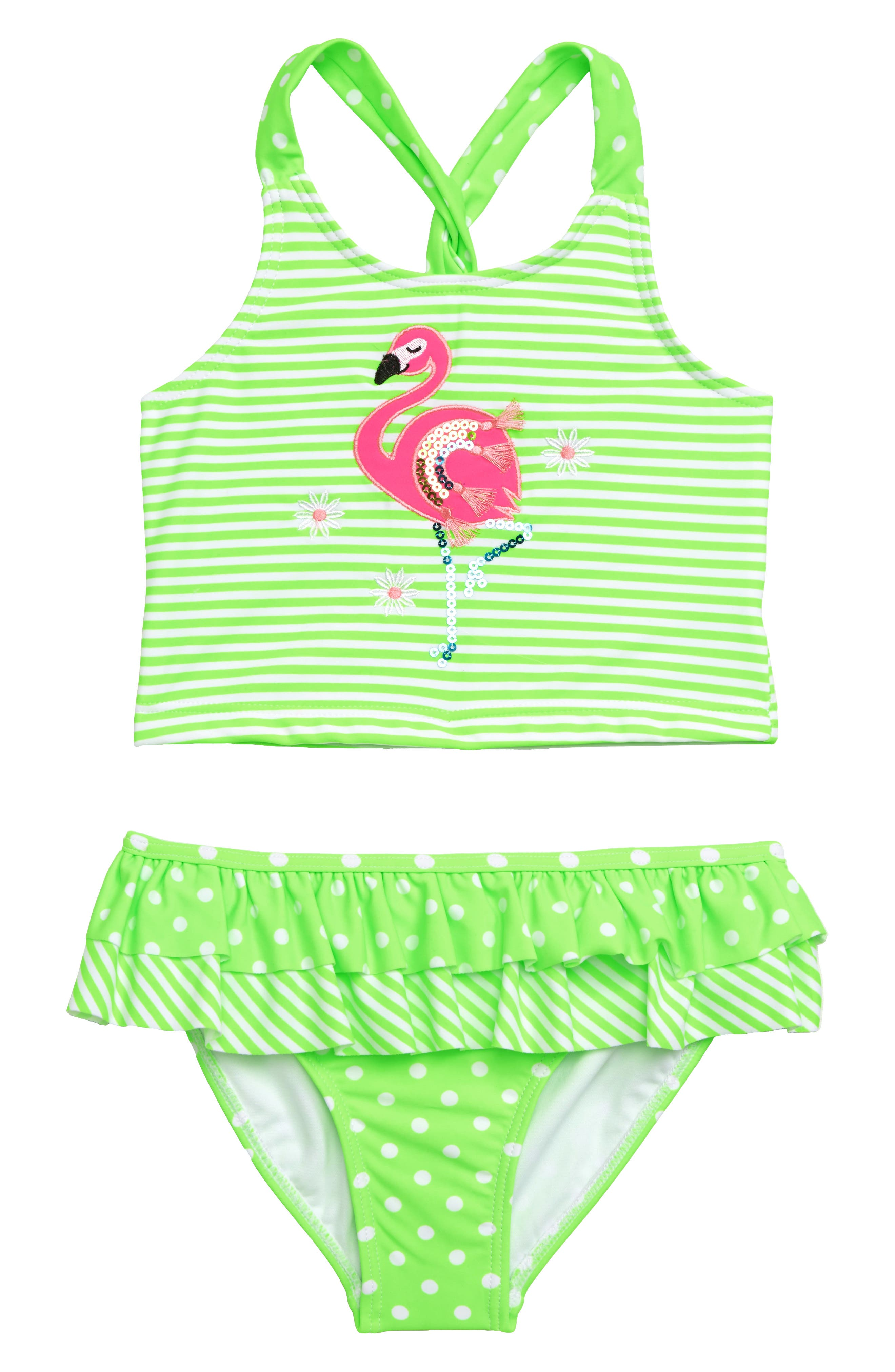 Flamingo Tankini Two-Piece Swimsuit,                             Main thumbnail 1, color,                             STRIPE
