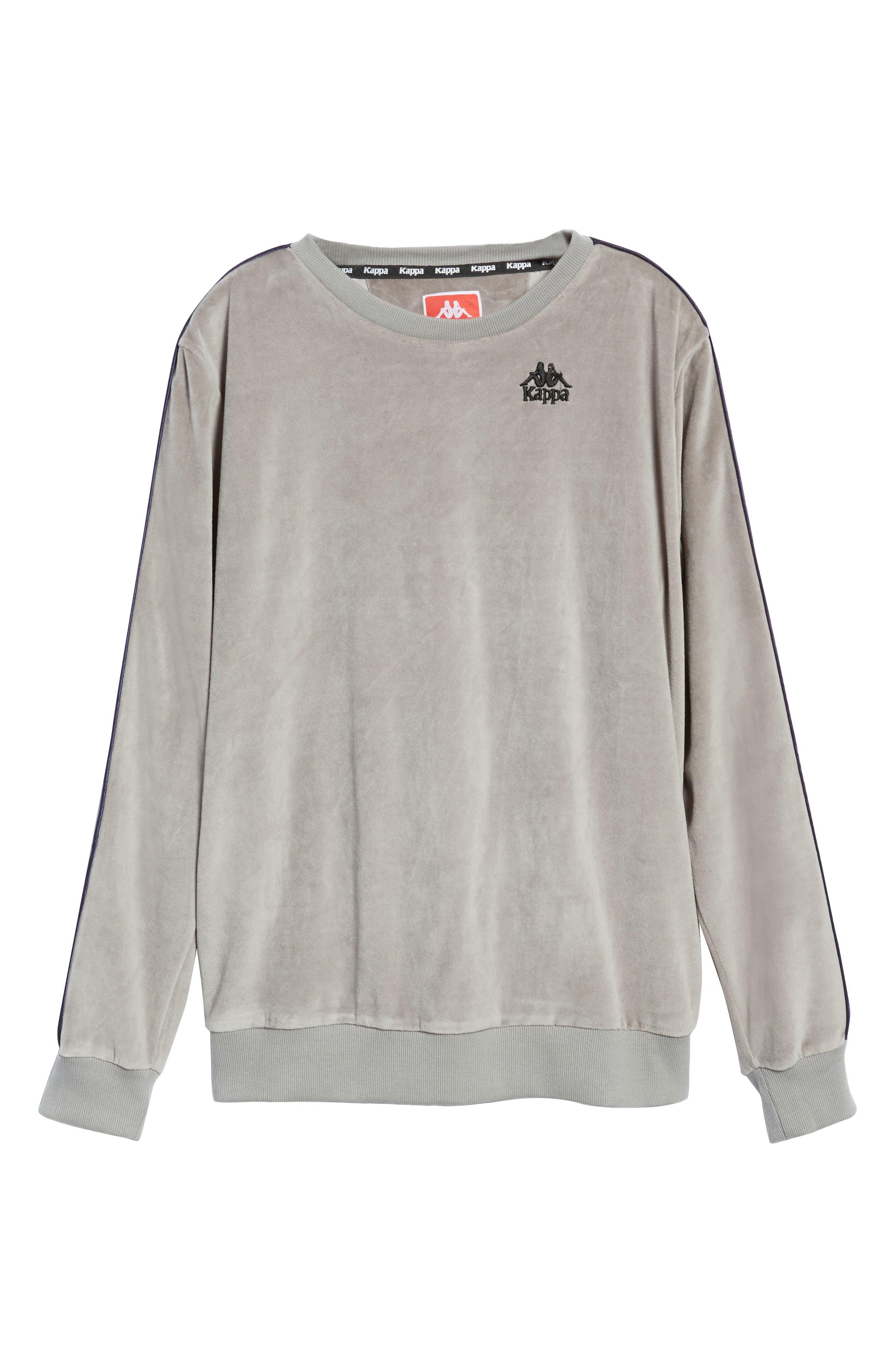 Authentic Aynset Velour Crewneck Sweatshirt,                             Alternate thumbnail 6, color,                             GREY MIST/ BLACK/ WHITE
