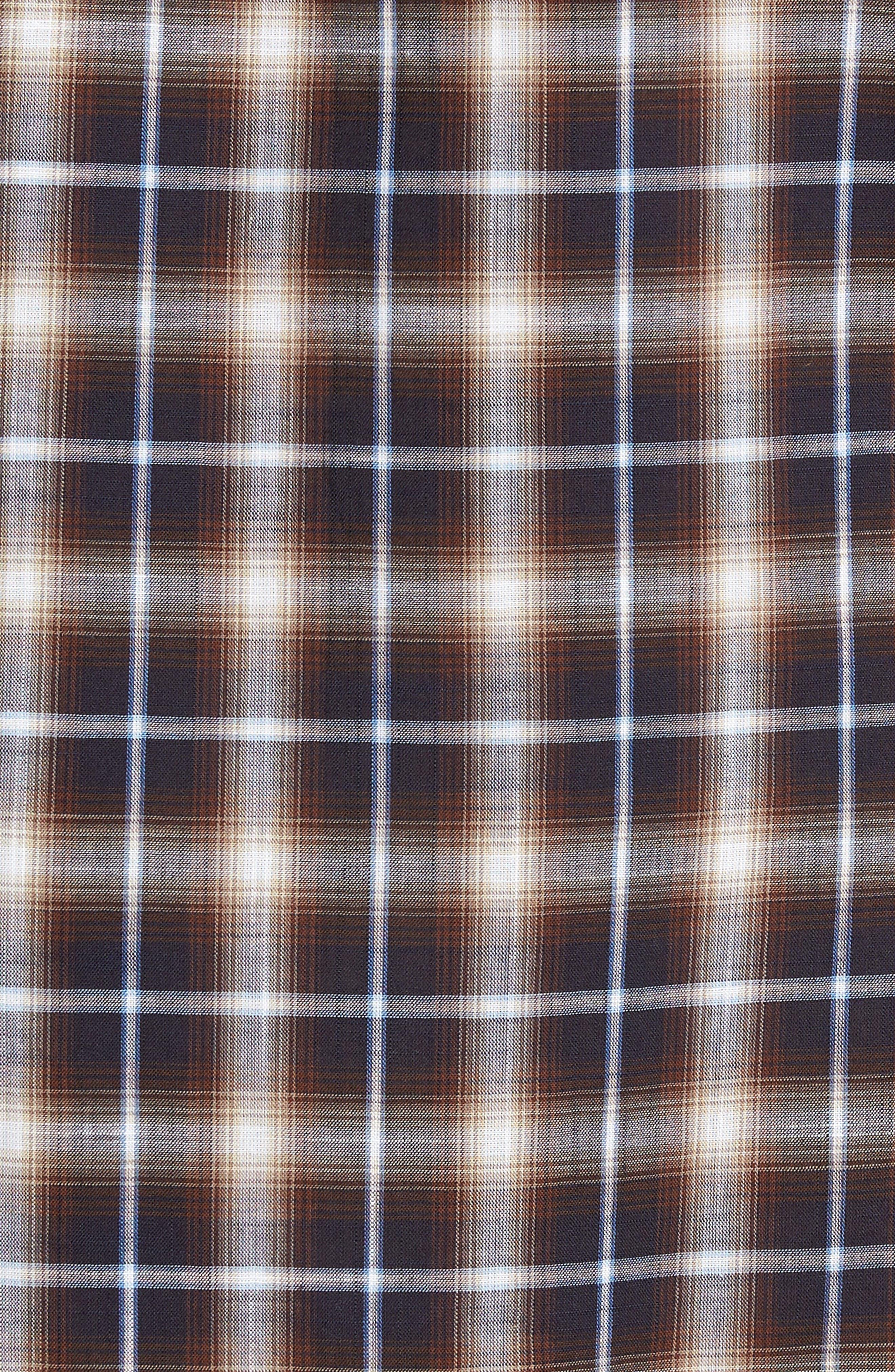 Alderplaid Slim Fit Sport Shirt,                             Alternate thumbnail 5, color,                             TOBACCO