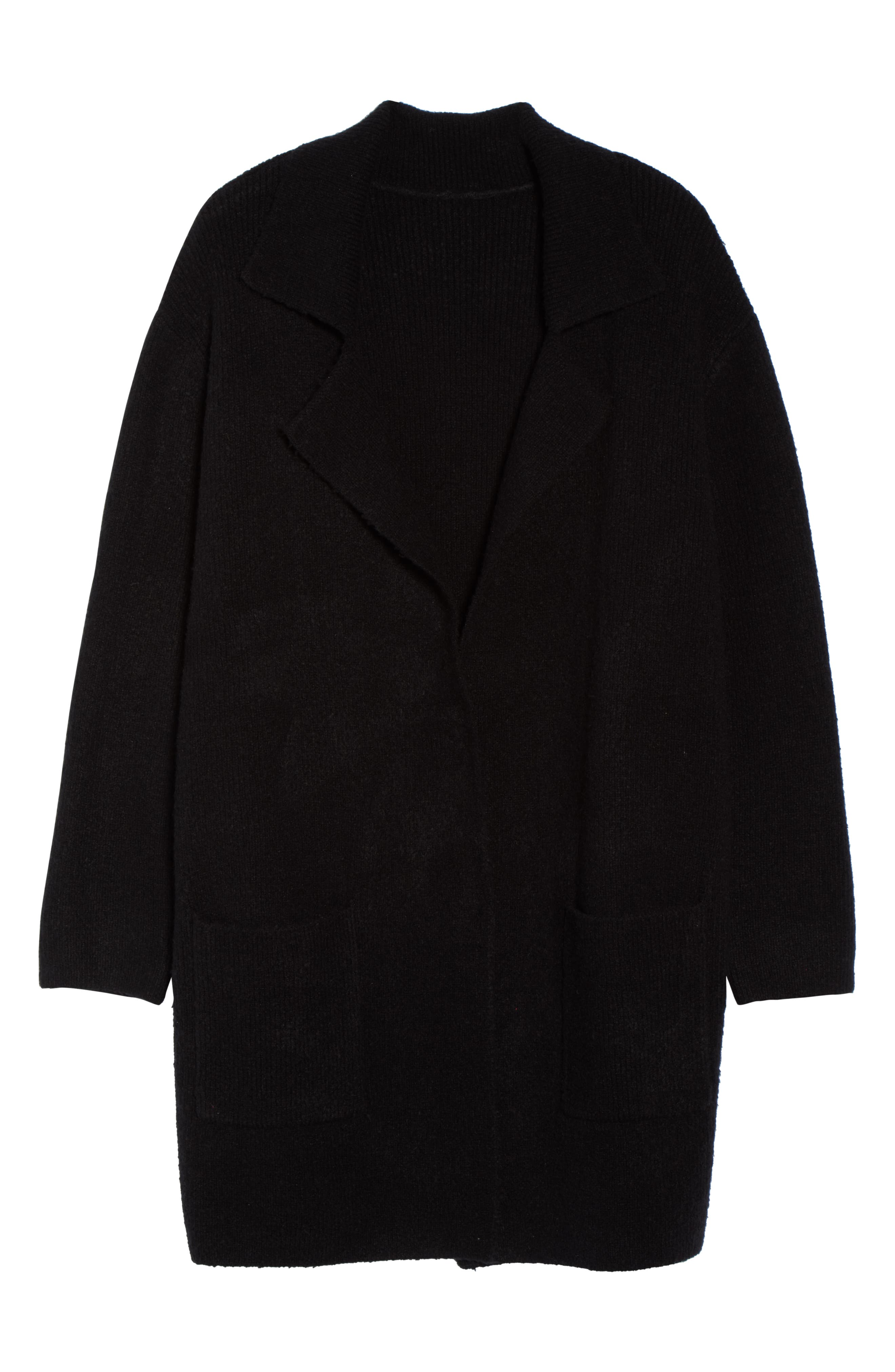 Sweater Coat,                             Alternate thumbnail 6, color,                             BLACK