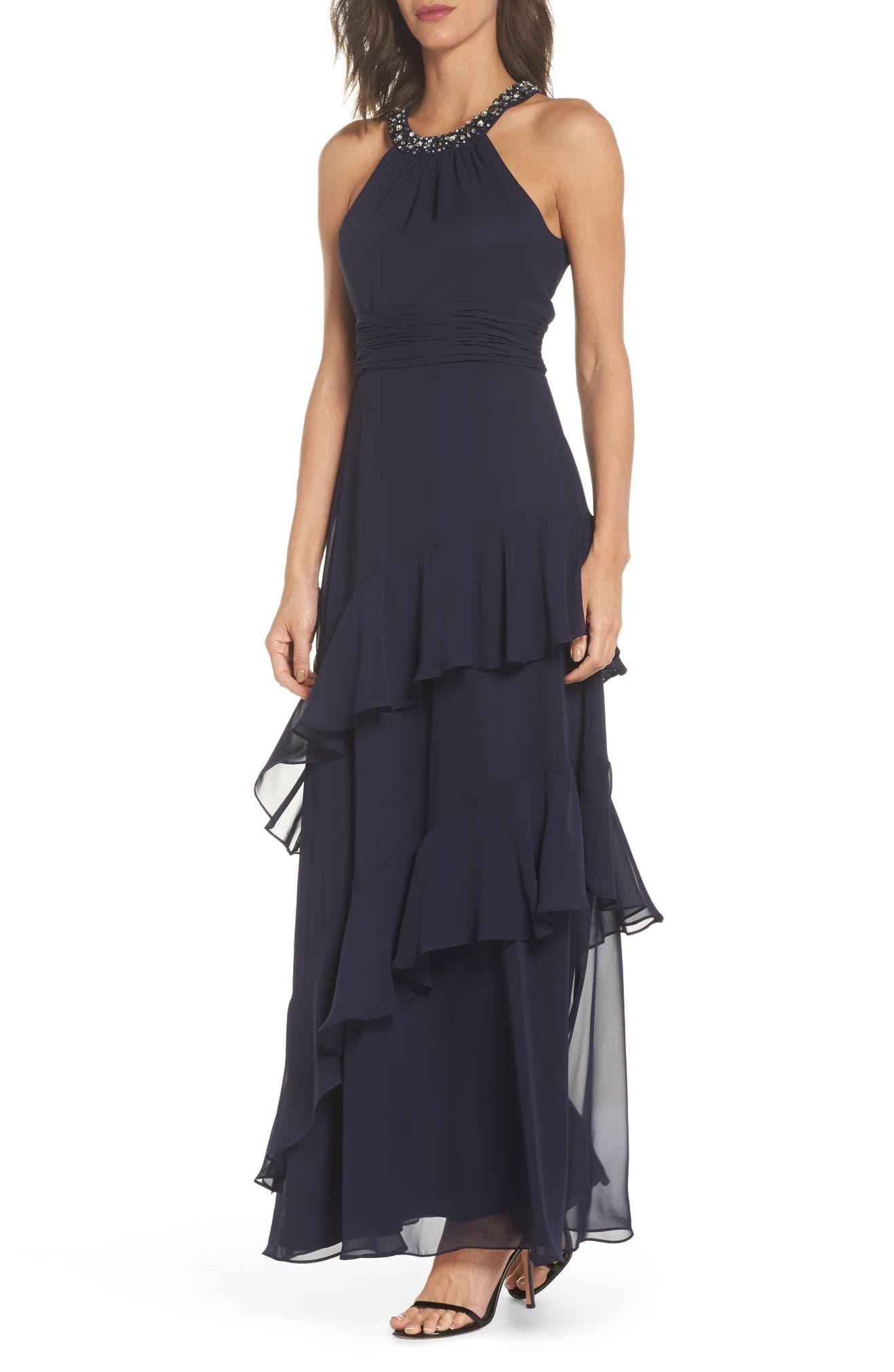 Eliza J Beaded Halter Tiered Chiffon Gown (Regular & Petite) | Nordstrom