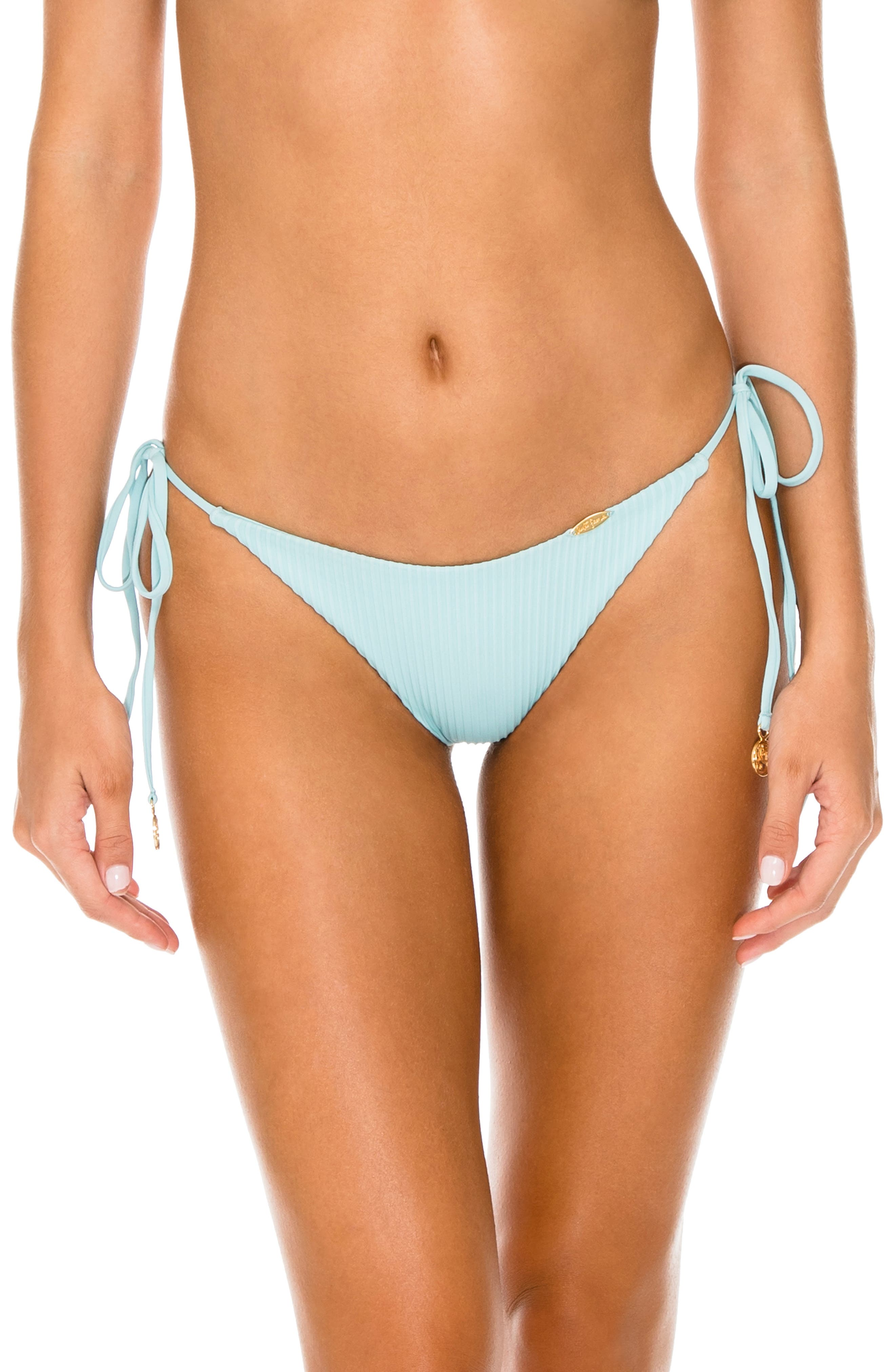 LULI FAMA Ribbed Brazilian Side Tie Bikini Bottoms in Acuario