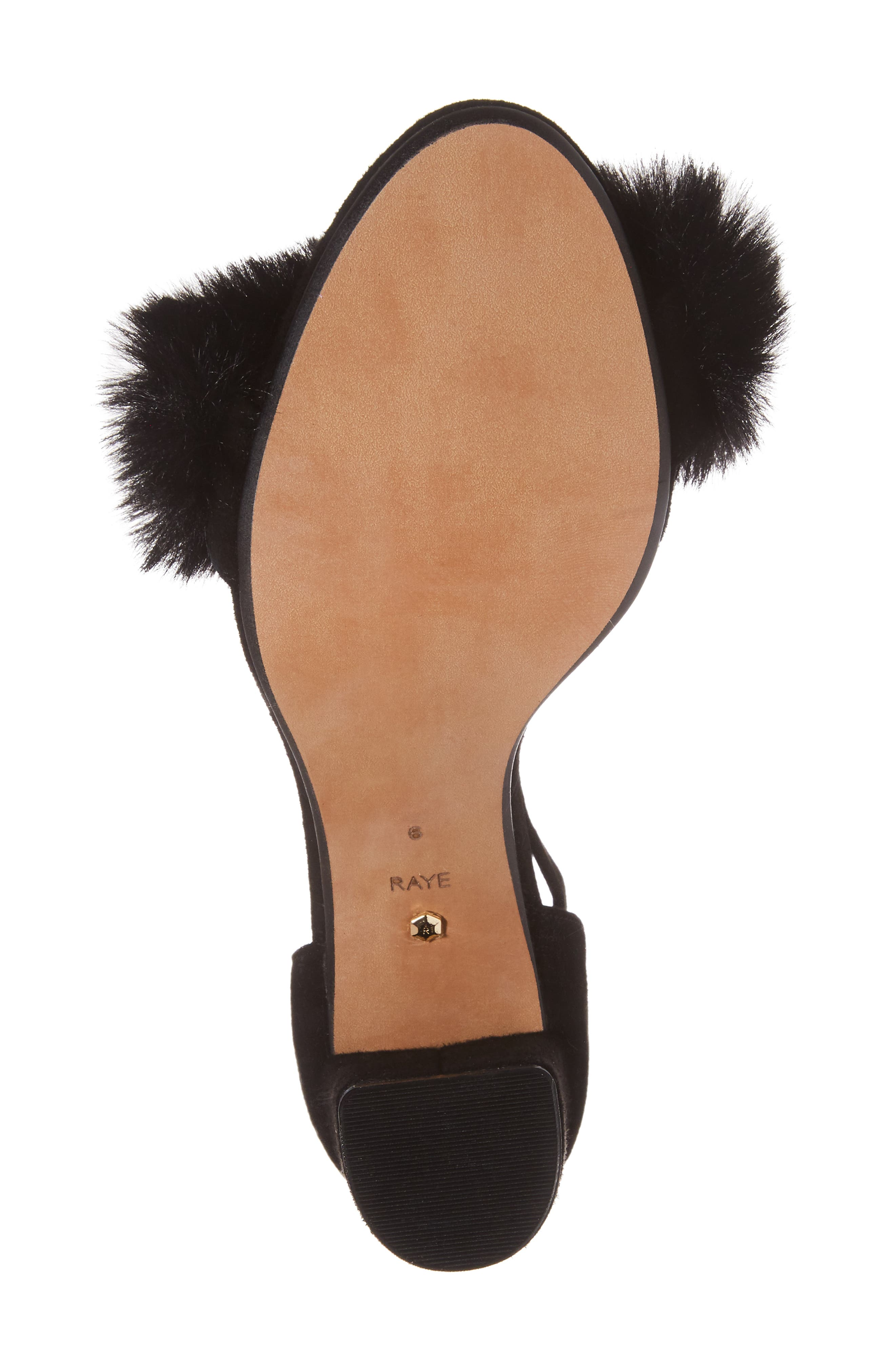 Lacey Faux Fur Sandal,                             Alternate thumbnail 6, color,                             003