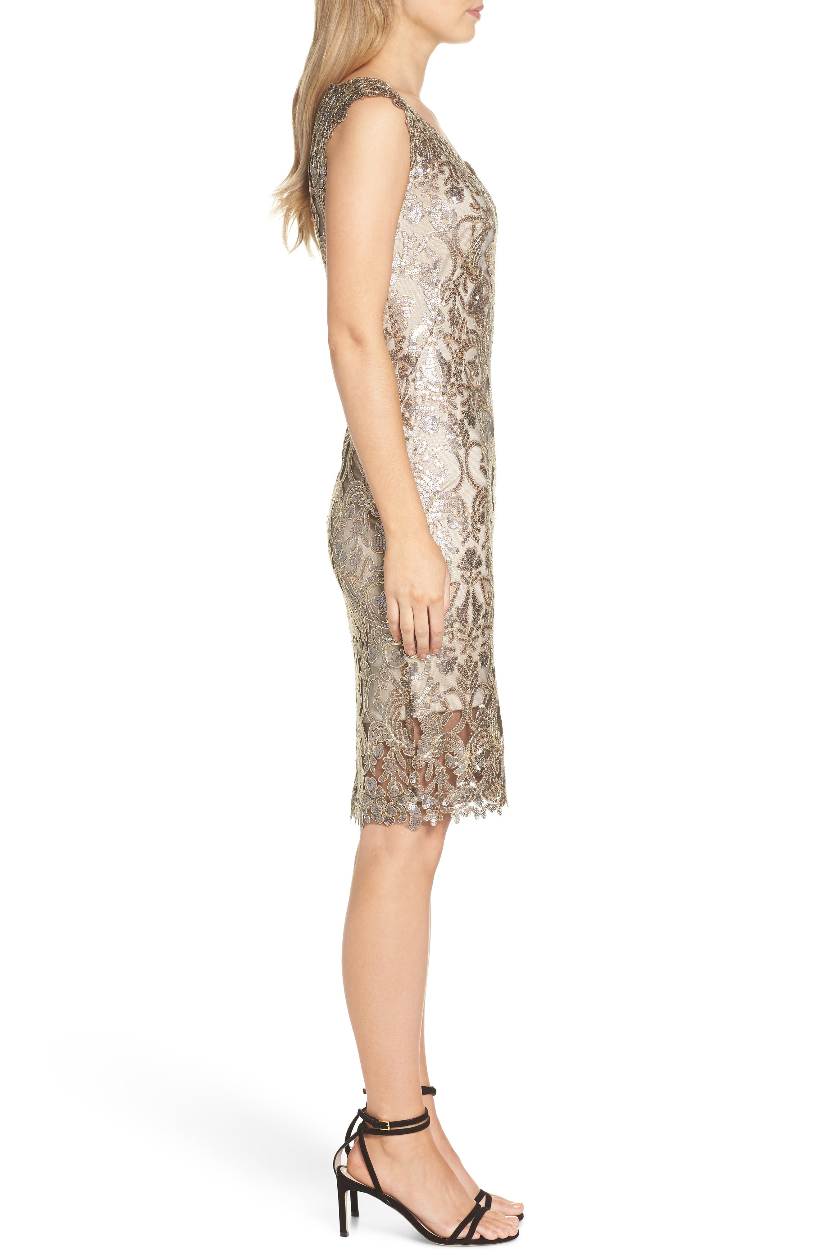 Sequin & Lace Sheath Dress,                             Alternate thumbnail 3, color,                             COPPER SHADOW