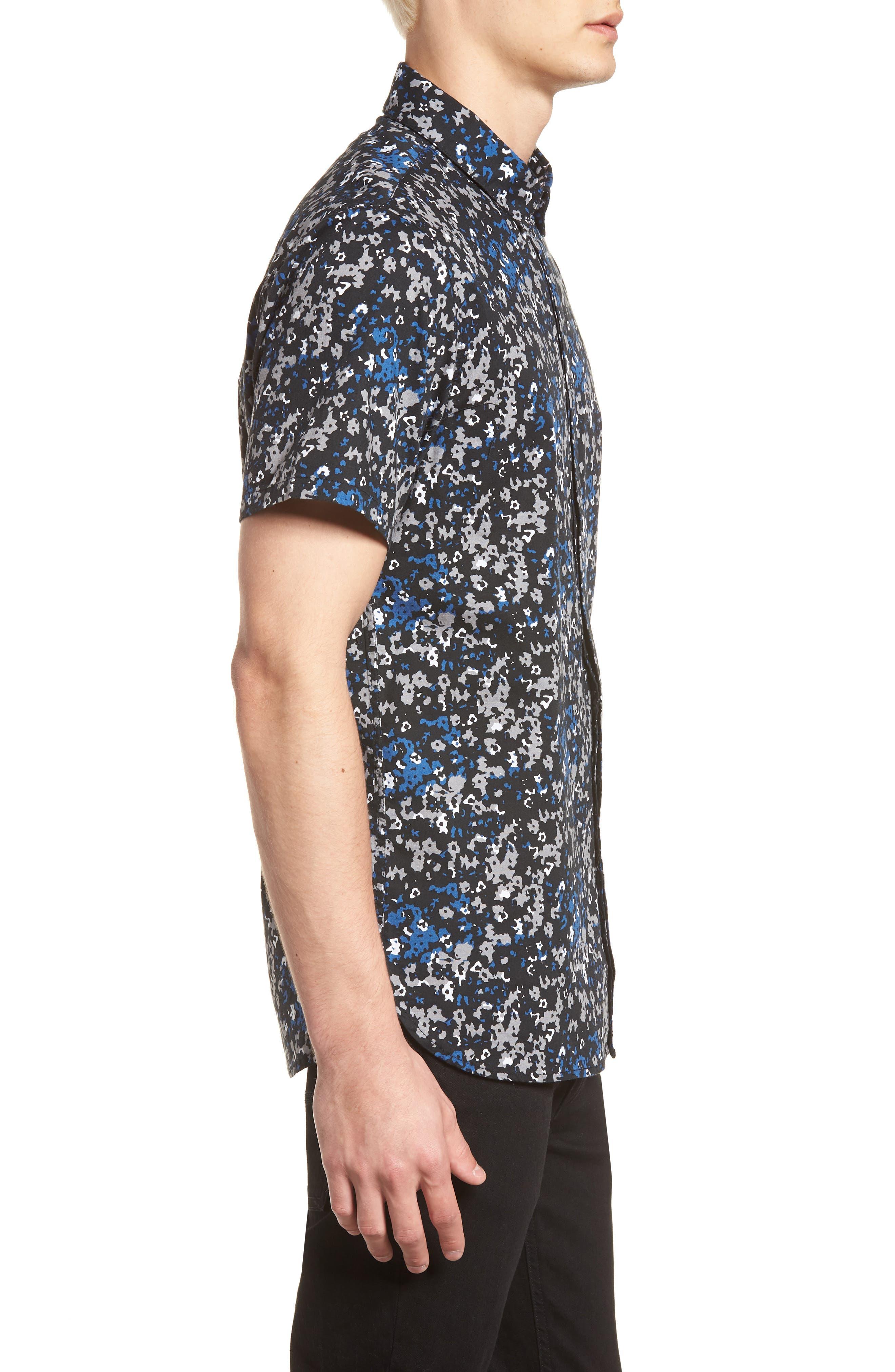 Fowler Woven Shirt,                             Alternate thumbnail 3, color,                             BLACK MICRO FLORAL