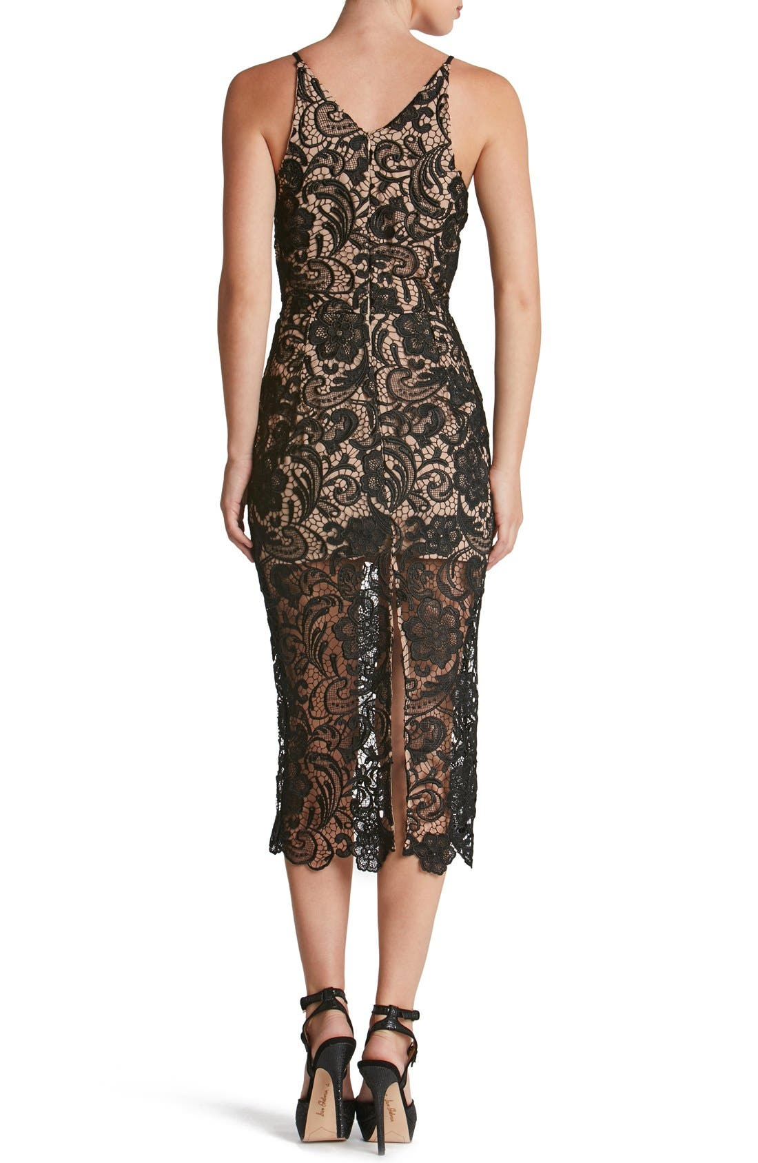 DRESS THE POPULATION,                             'Marie' Lace Midi Dress,                             Alternate thumbnail 5, color,                             004
