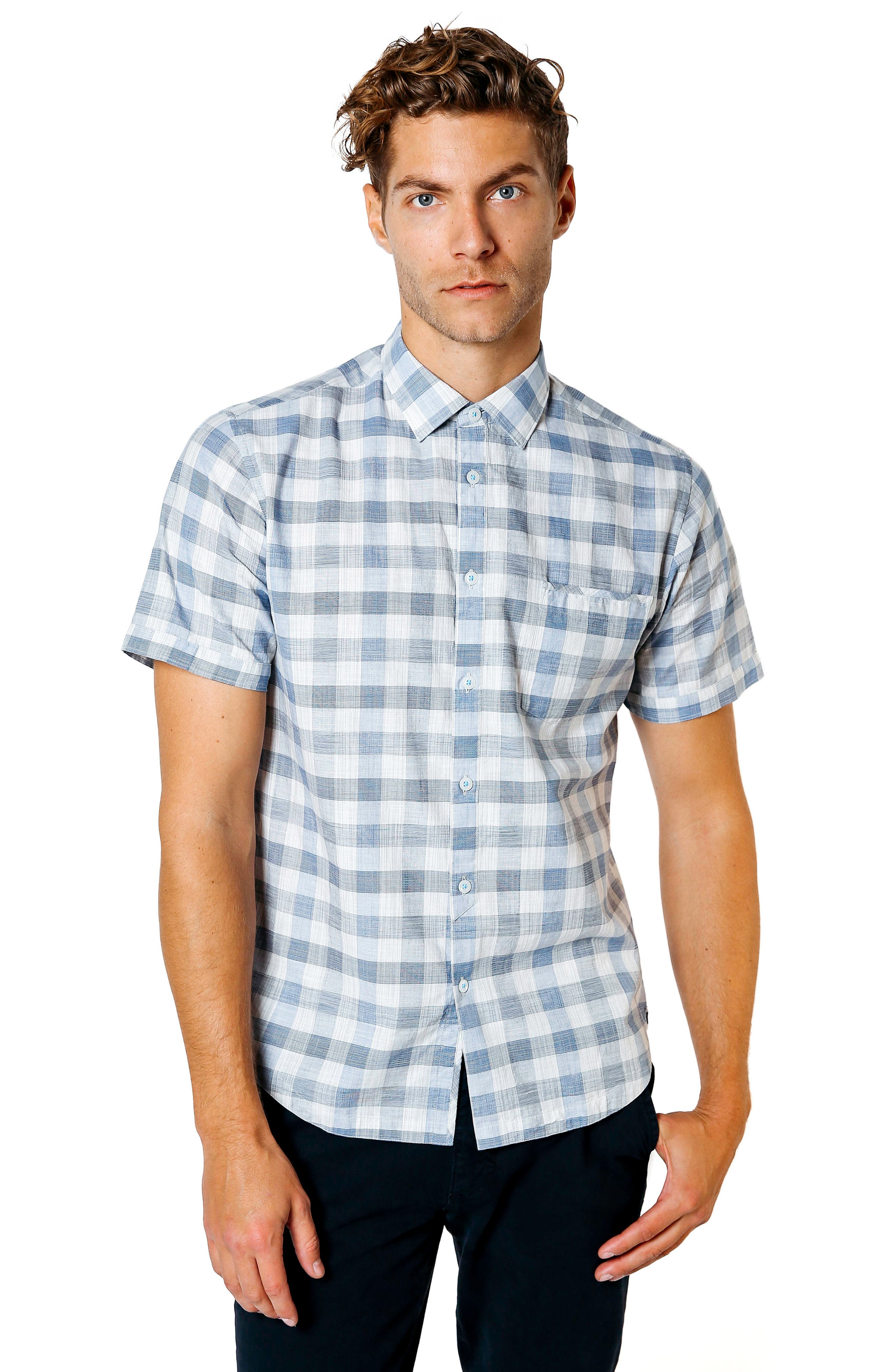 Trim Fit Check Sport Shirt,                             Alternate thumbnail 5, color,                             BLUE