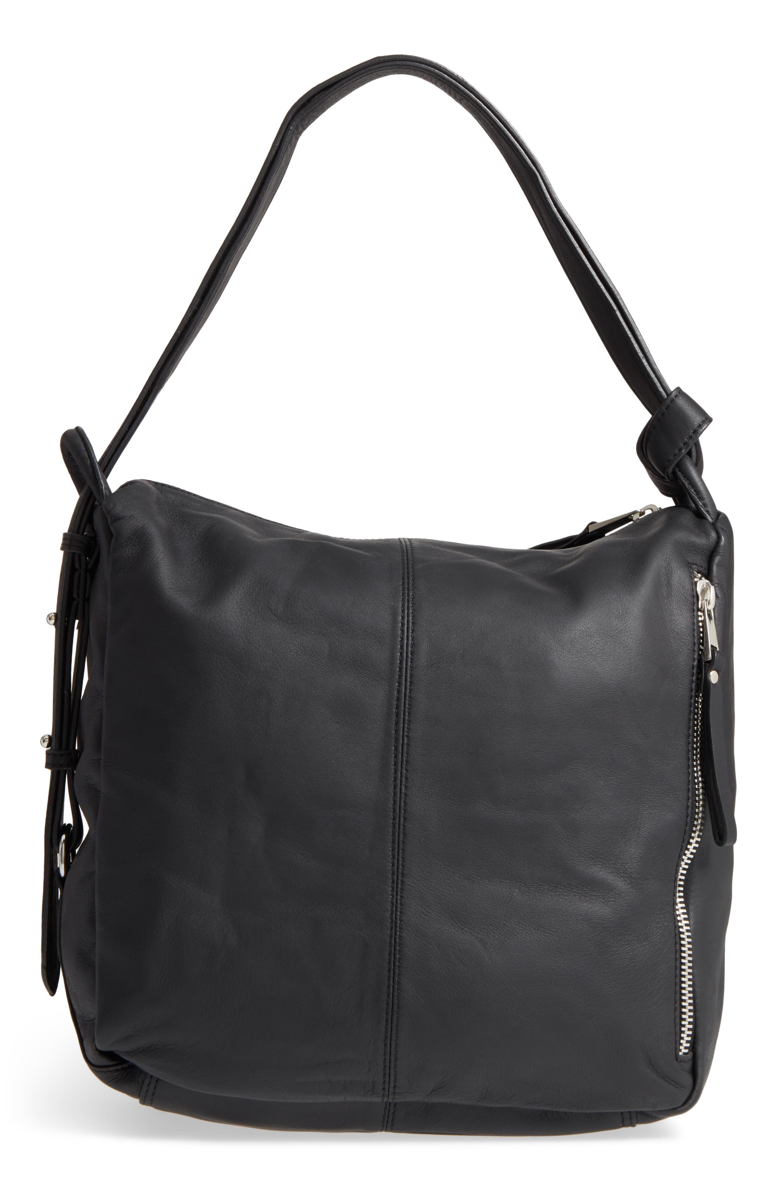 Premium Leather Sling Shoulder Bag,                             Alternate thumbnail 3, color,                             001