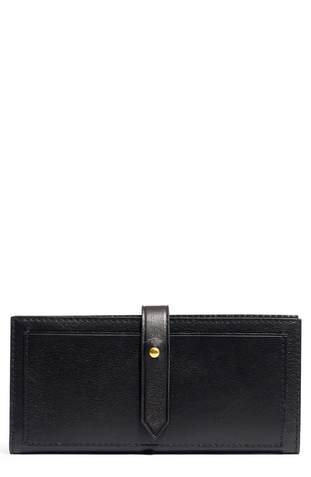 New Post Leather Wallet,                             Main thumbnail 1, color,                             TRUE BLACK