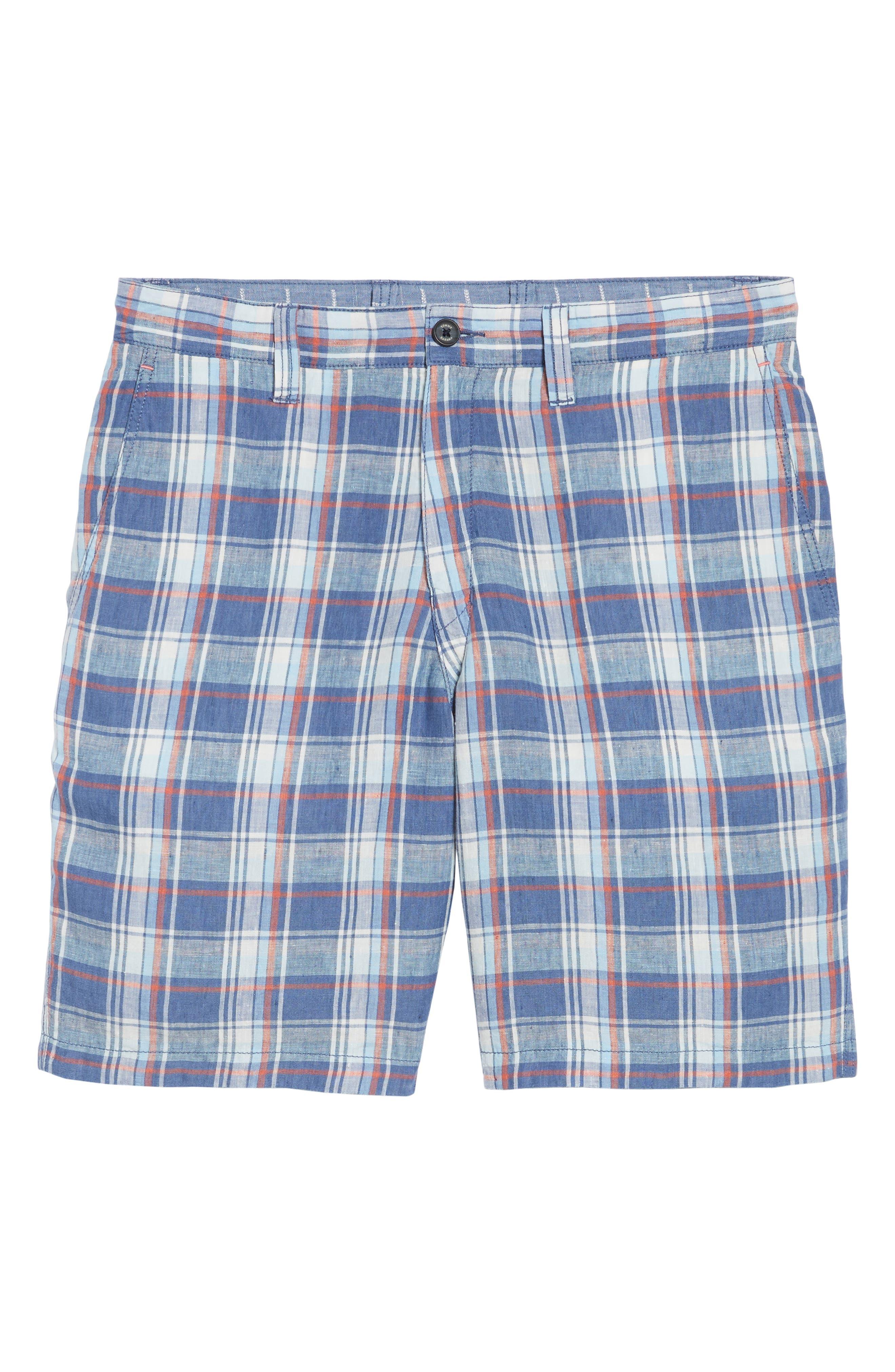 Plaid de Leon Reversible Linen Shorts,                             Alternate thumbnail 6, color,                             401