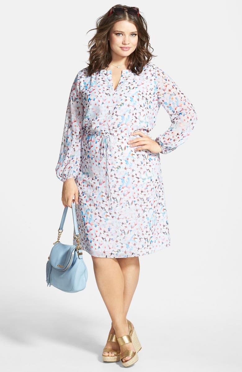 Adrianna Papell Floral Dress & MICHAEL Michael Kors Wedge Sandal ...