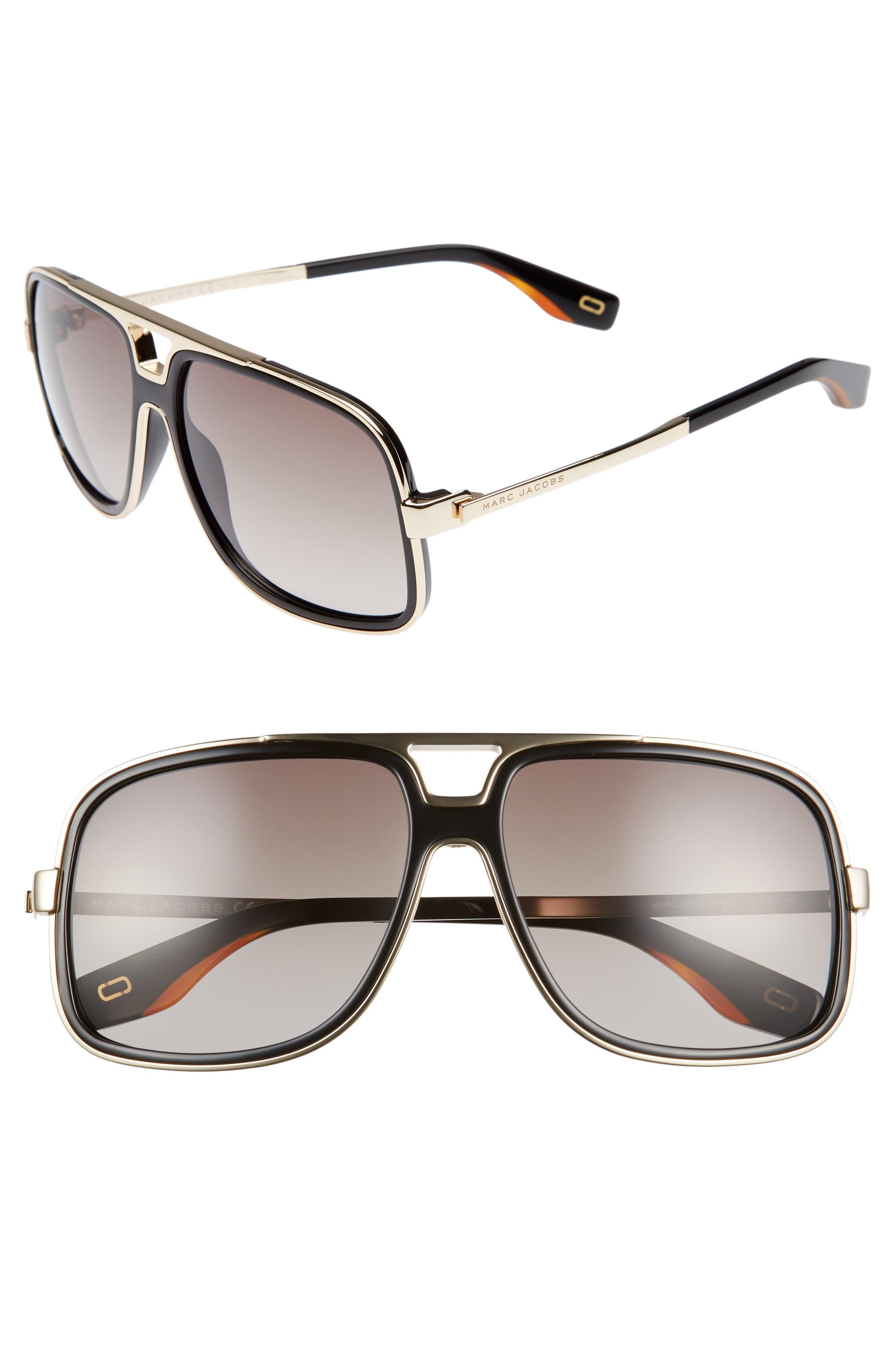 60mm Gradient Lens Aviator Sunglasses,                         Main,                         color, BLACK