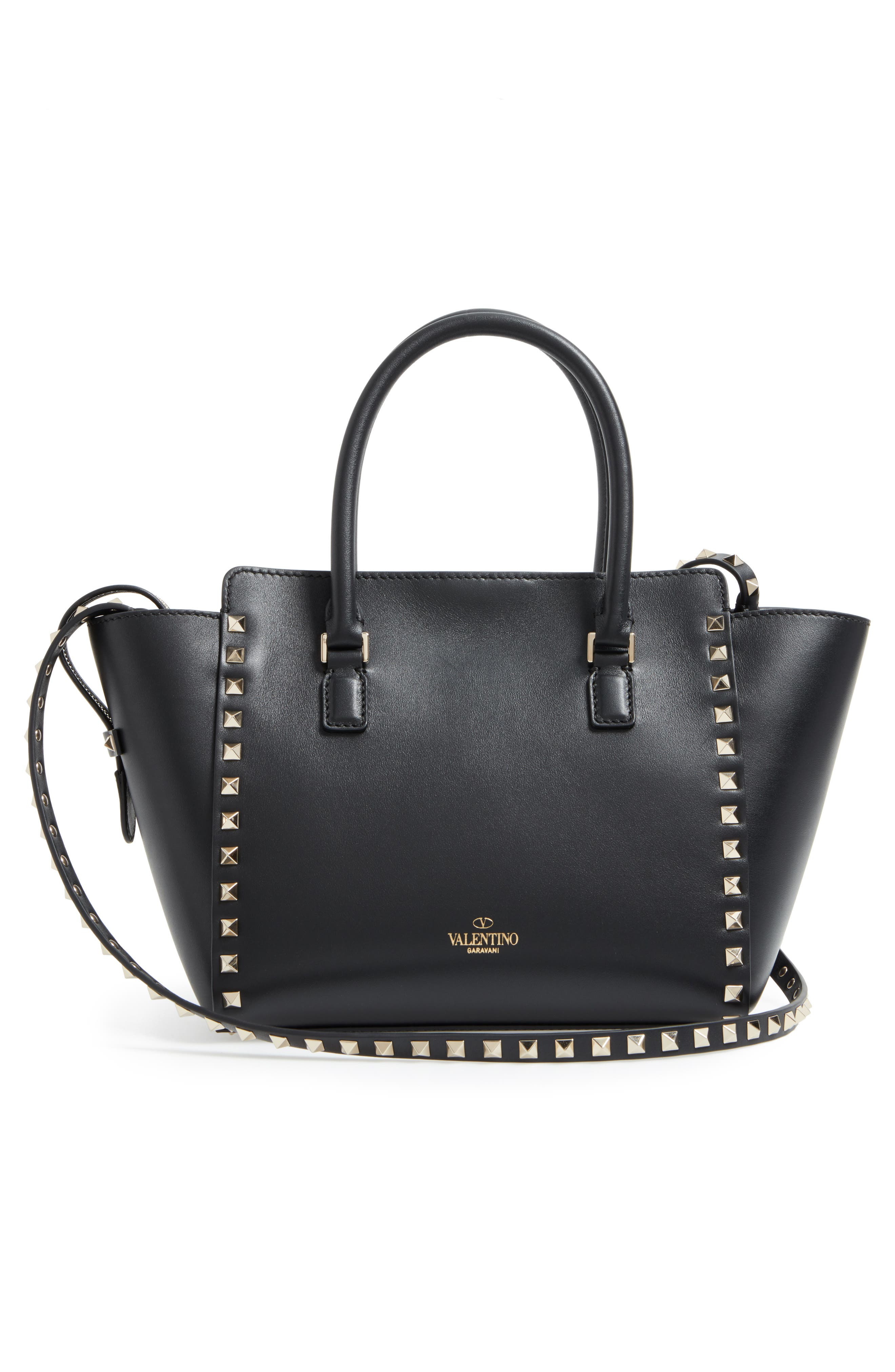 Rockstud Small Double Handle Leather Tote,                             Alternate thumbnail 3, color,                             001