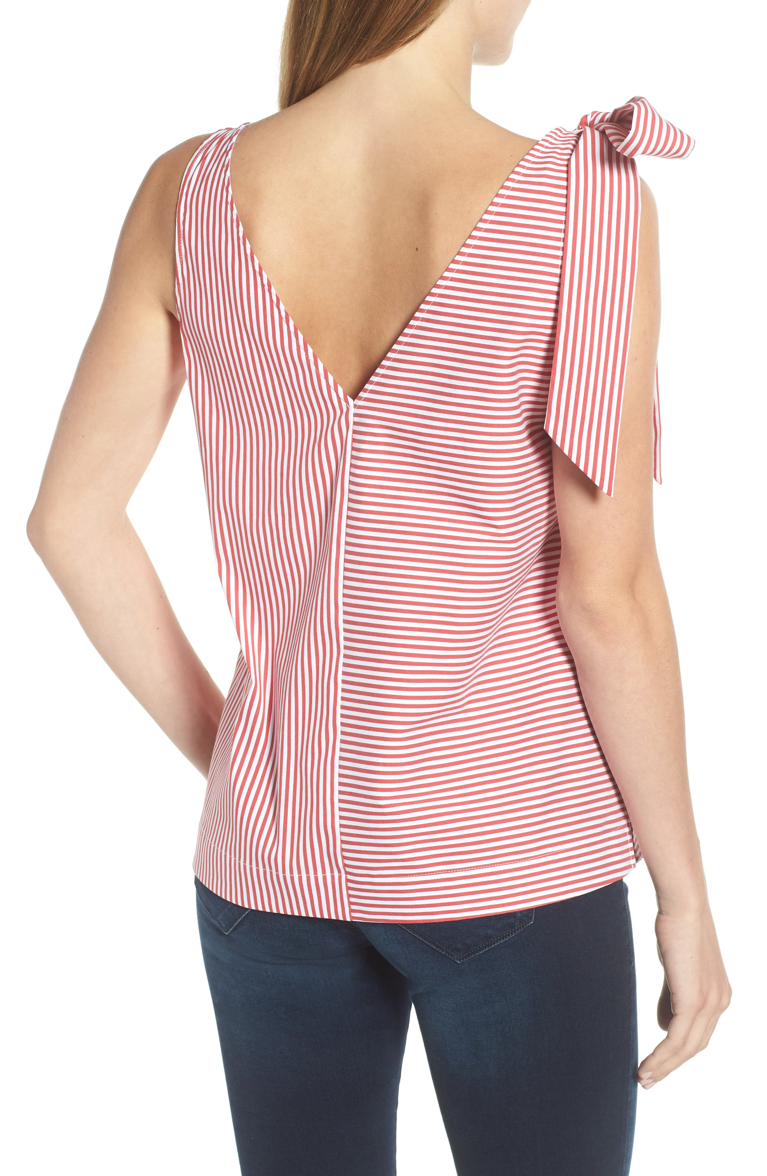 Sleeveless Striped Bow Top,                             Alternate thumbnail 2, color,