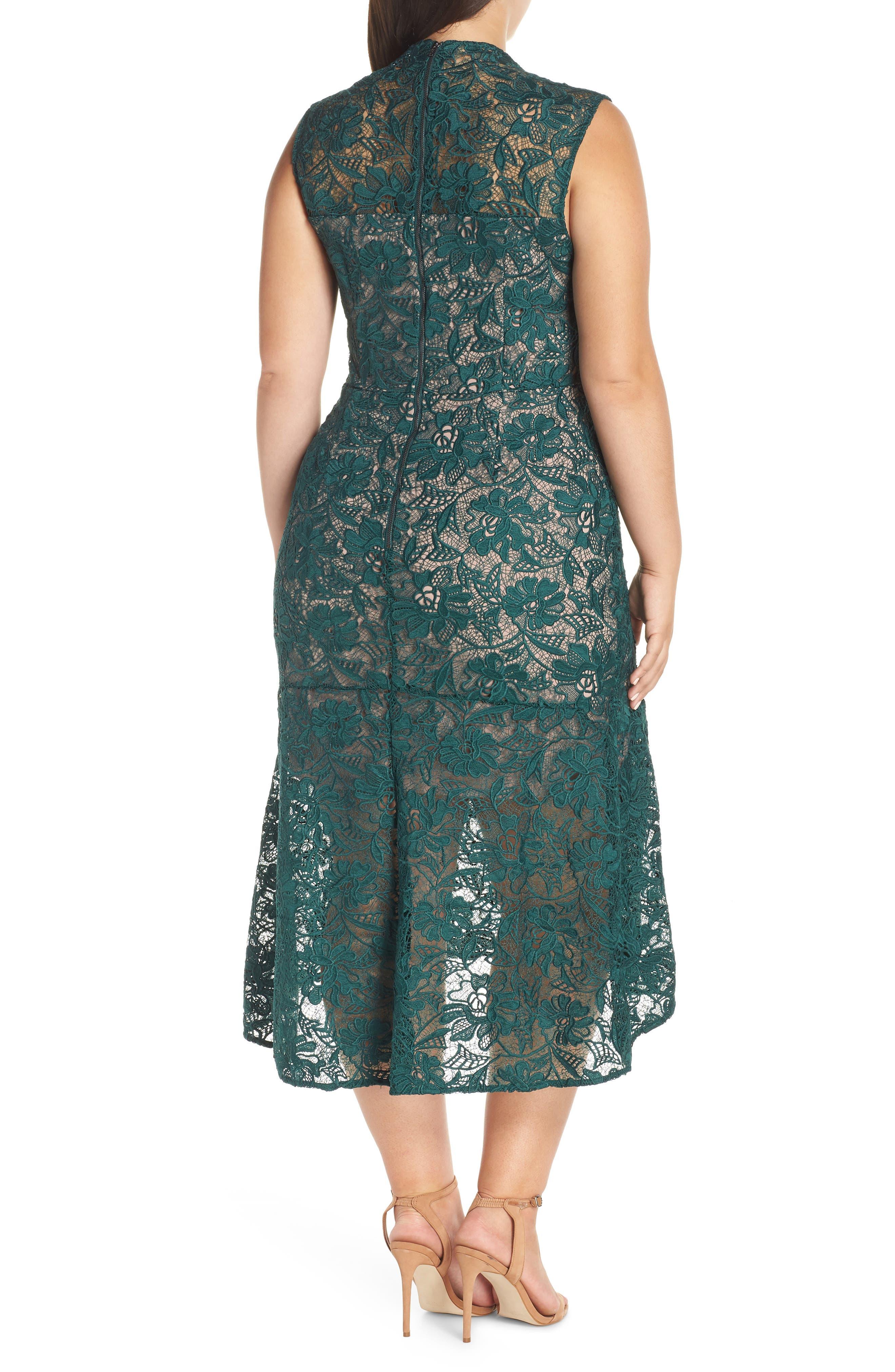 Chesea28 Lace Mock Neck Midi Dress,                             Alternate thumbnail 2, color,                             GREEN PARK