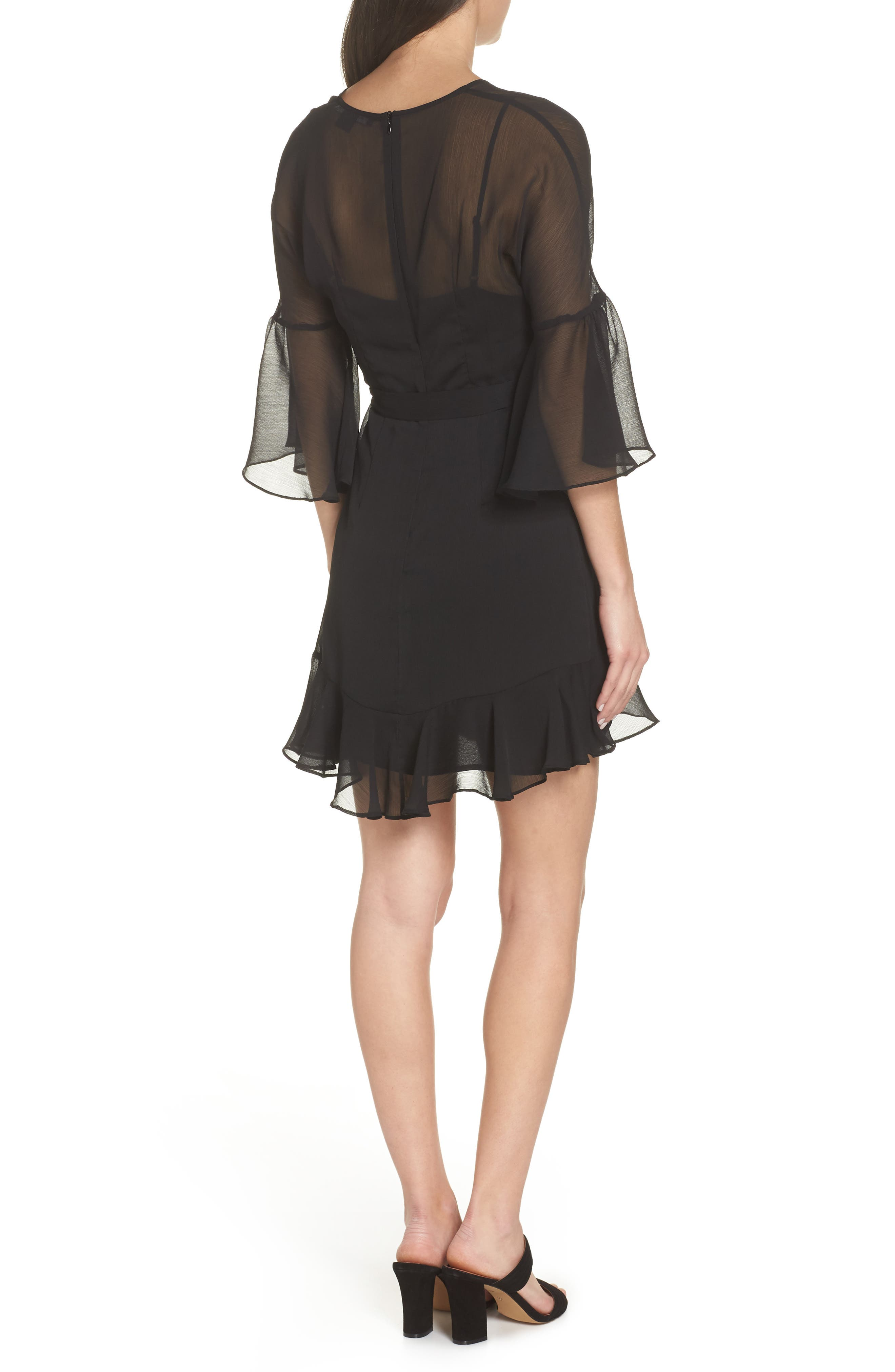 Hallie Ruffle Dress,                             Alternate thumbnail 2, color,                             BLACK