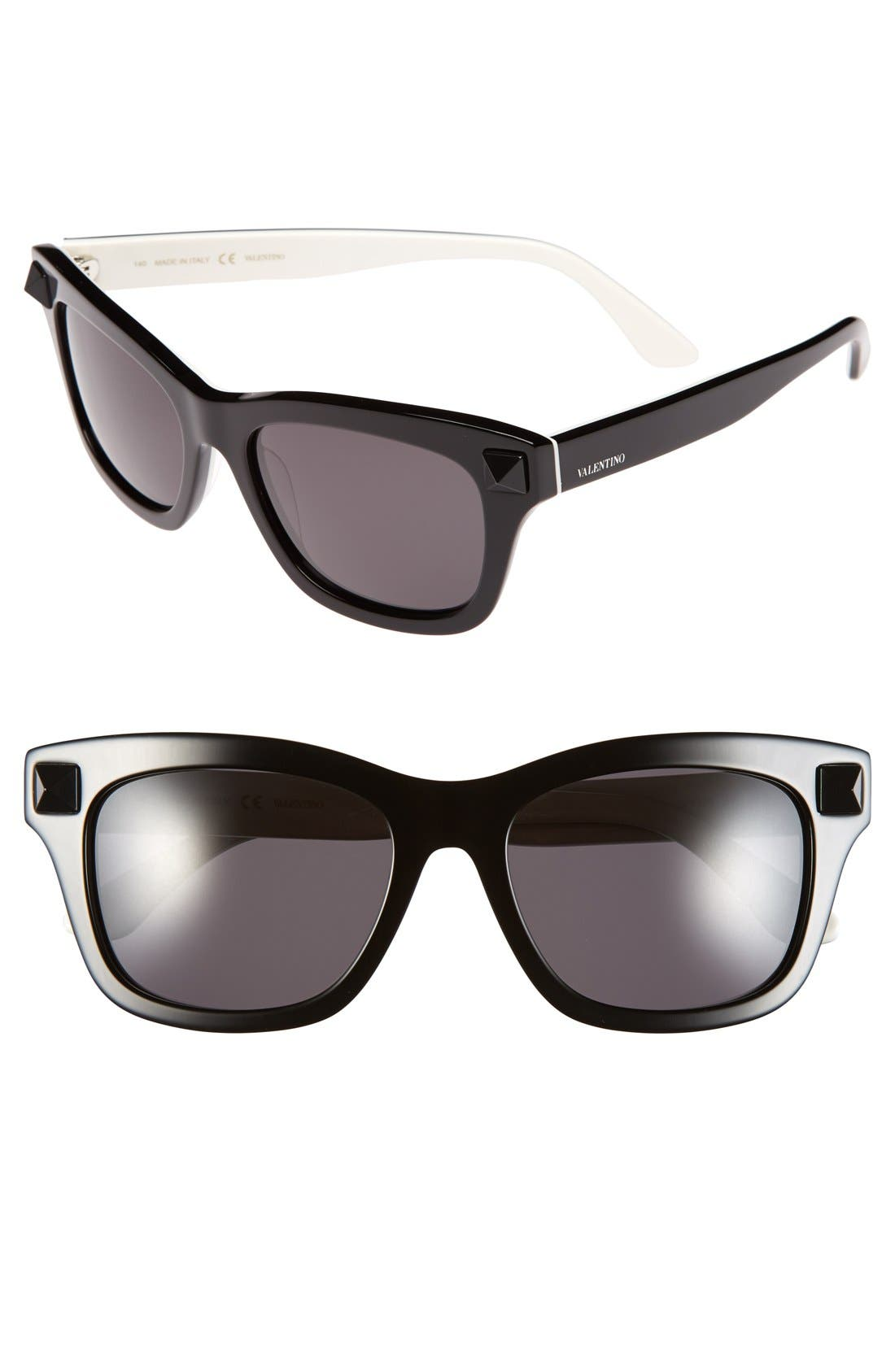 VALENTINO,                             'Rockstud' 53mm Retro Sunglasses,                             Main thumbnail 1, color,                             001