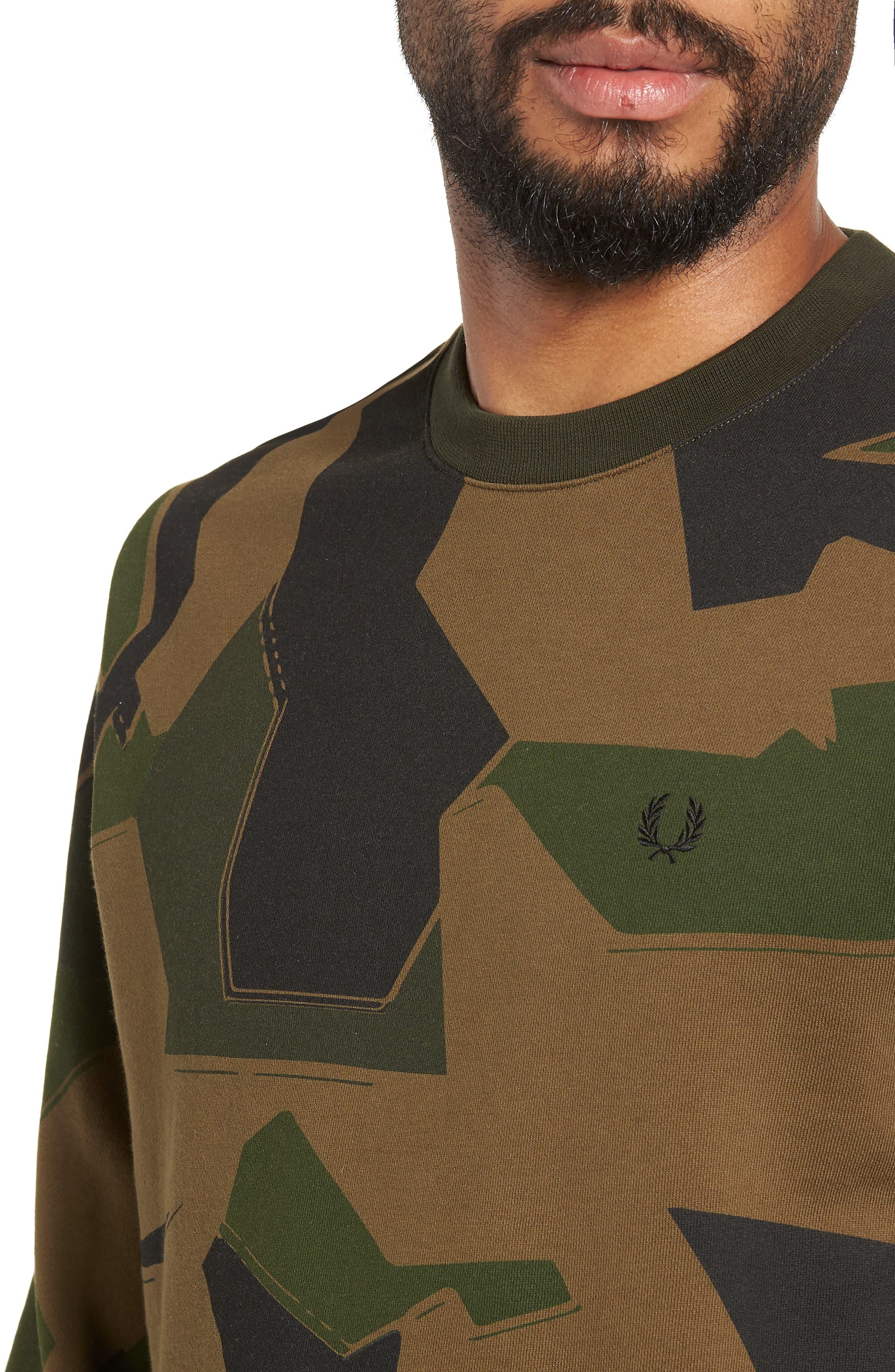 Camoflage Sweatshirt,                             Alternate thumbnail 4, color,                             WOODLAND CAMO