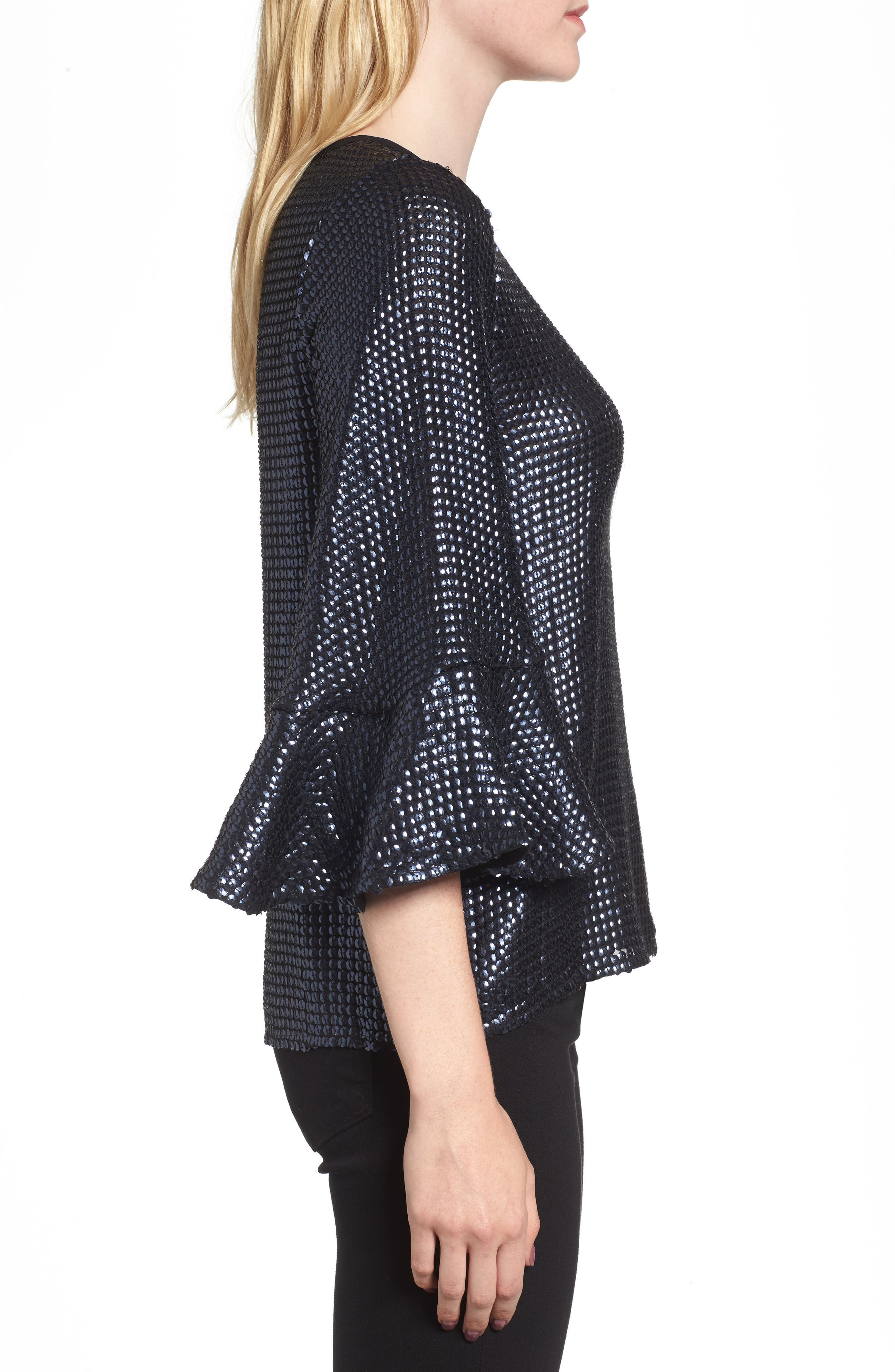 Sequin Bell Sleeve Top,                             Alternate thumbnail 3, color,                             410
