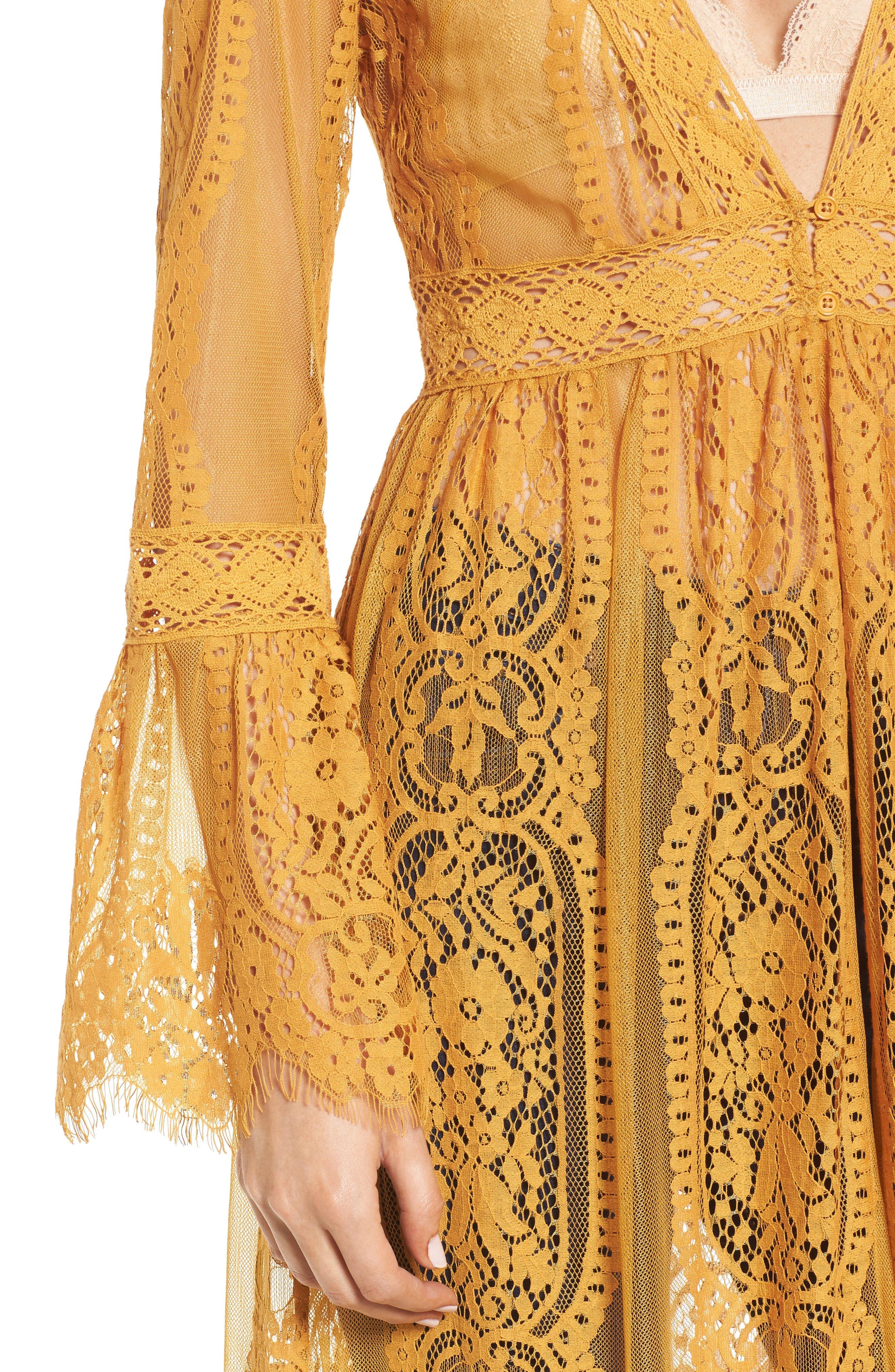 Bell Sleeve Lace Kimono,                             Alternate thumbnail 4, color,                             MUSTARD