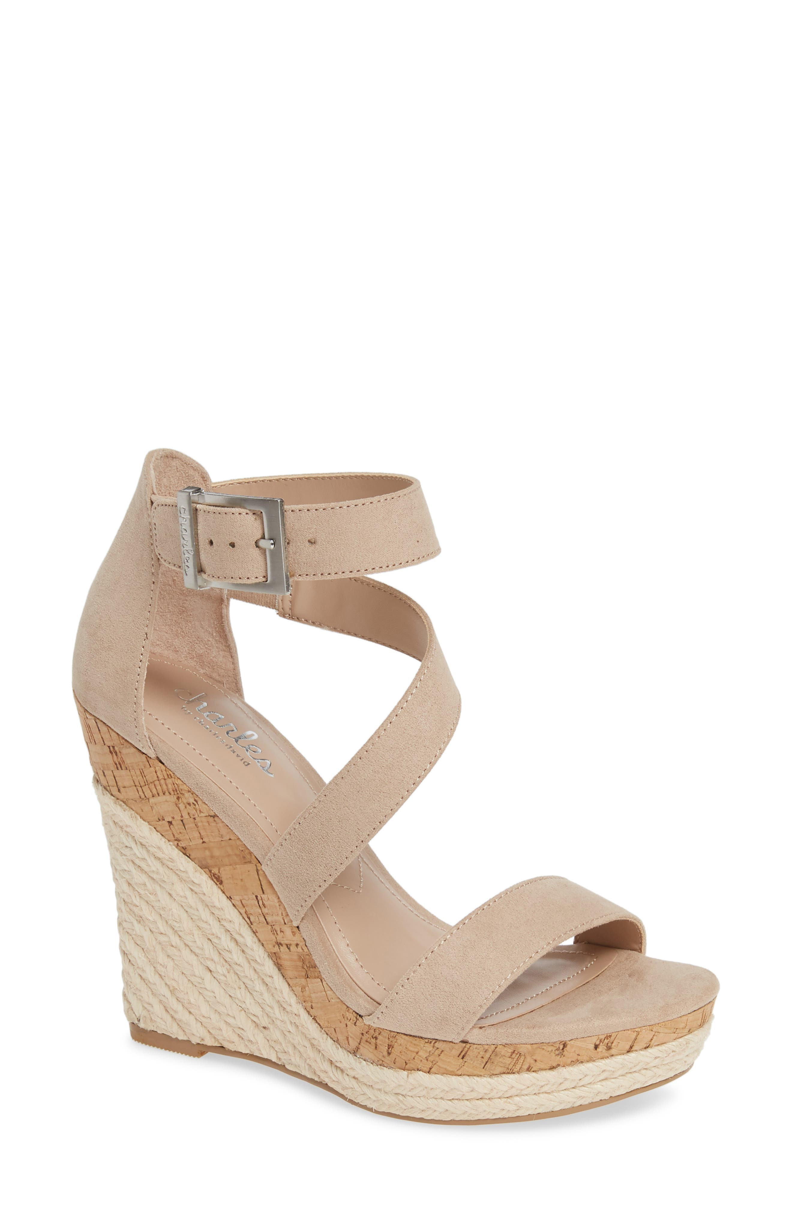 Adrielle Asymmetrical Platform Wedge Sandal in Nude Fabric
