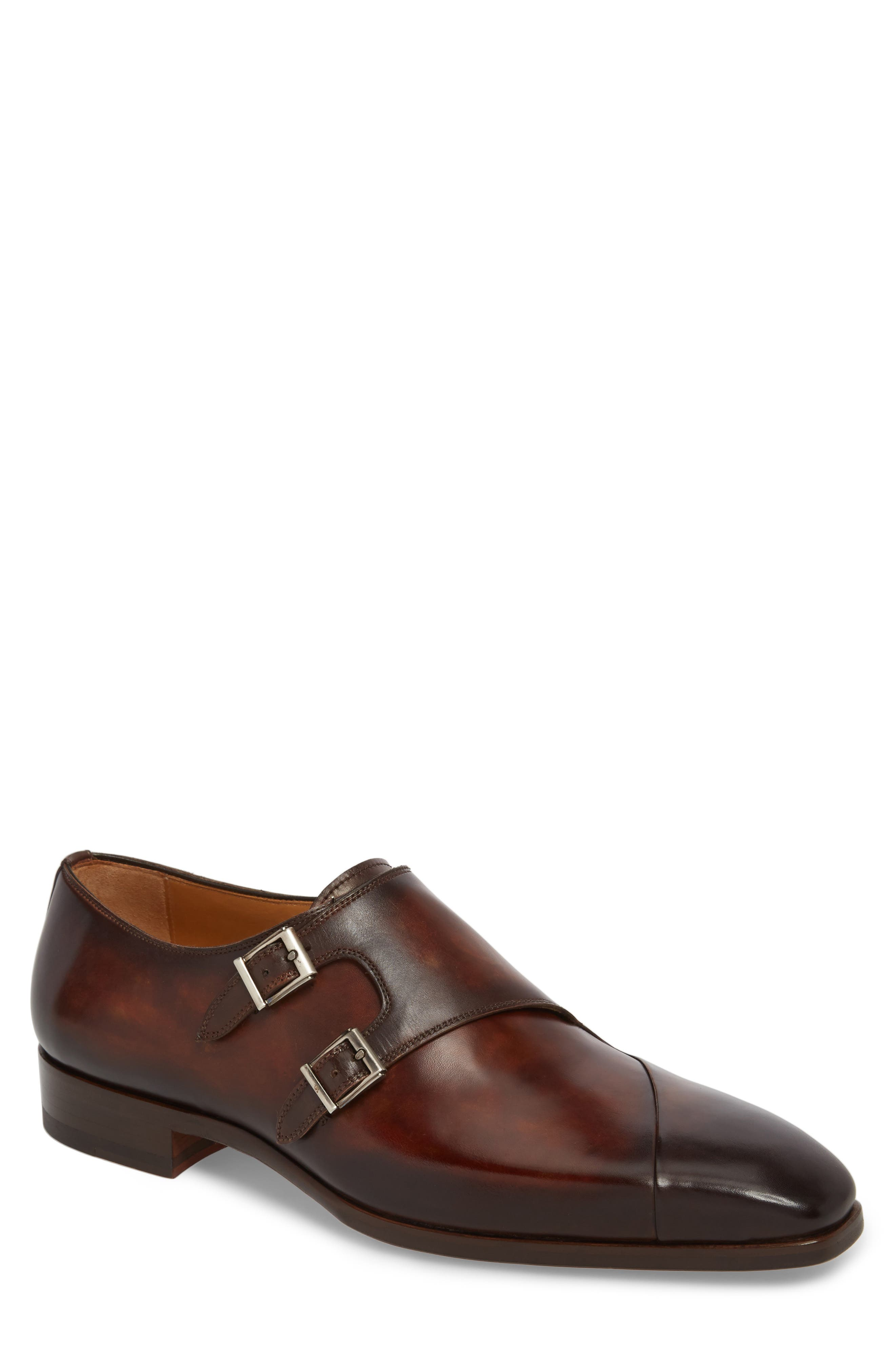 Hafiz Double Strap Monk Shoe,                         Main,                         color, TABACO LEATHER