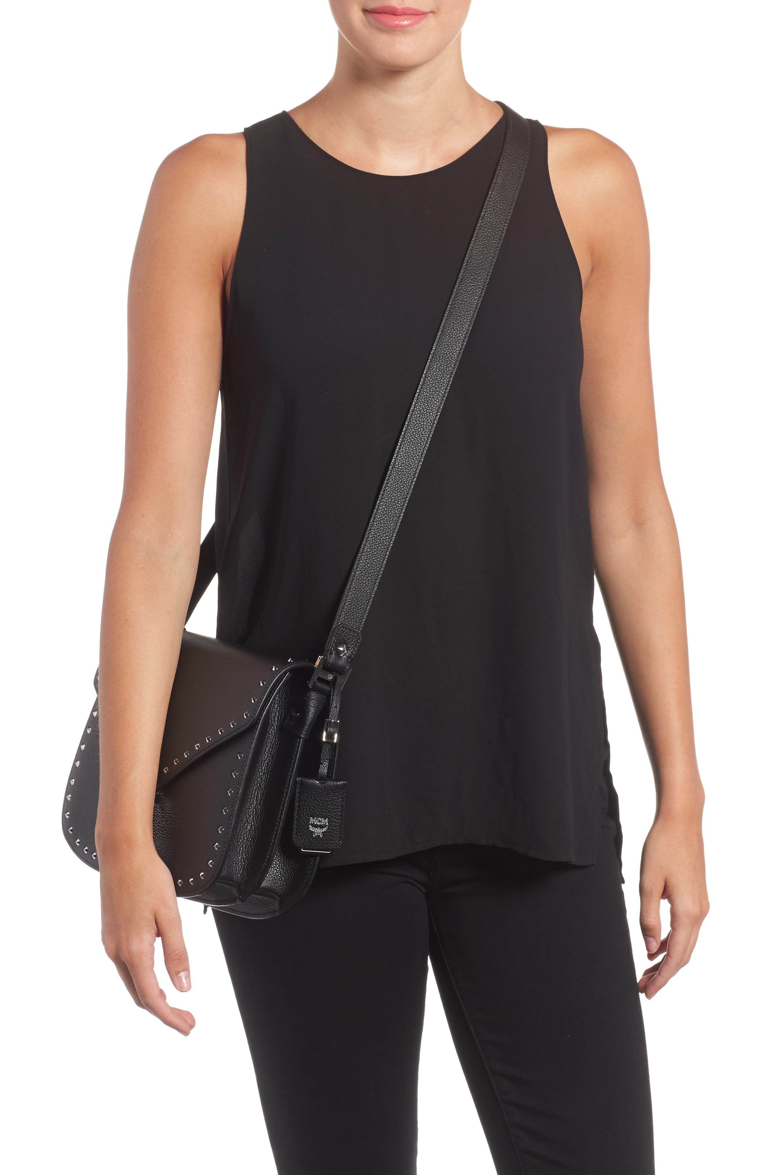 Patricia Studded Outline Leather Shoulder Bag,                             Alternate thumbnail 2, color,                             001