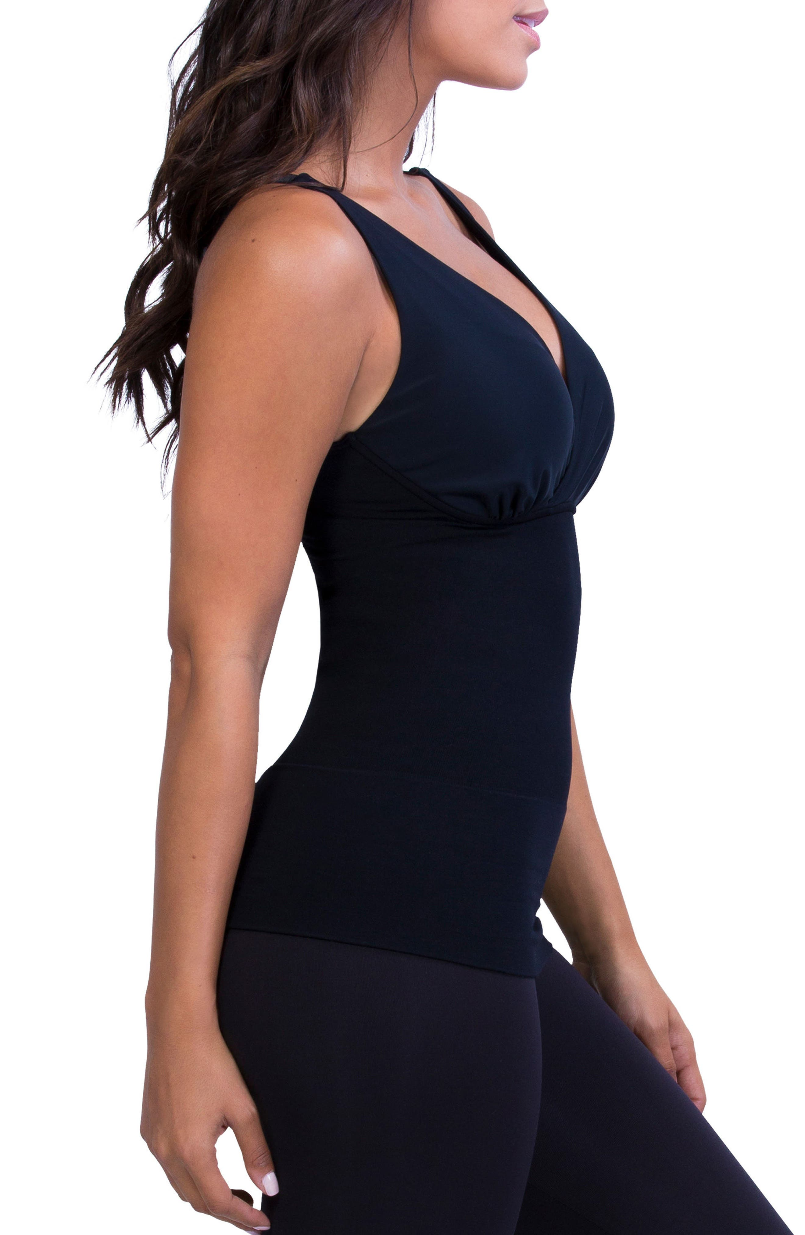 Post Maternity Compression & Nursing Tank,                             Alternate thumbnail 4, color,                             BLACK