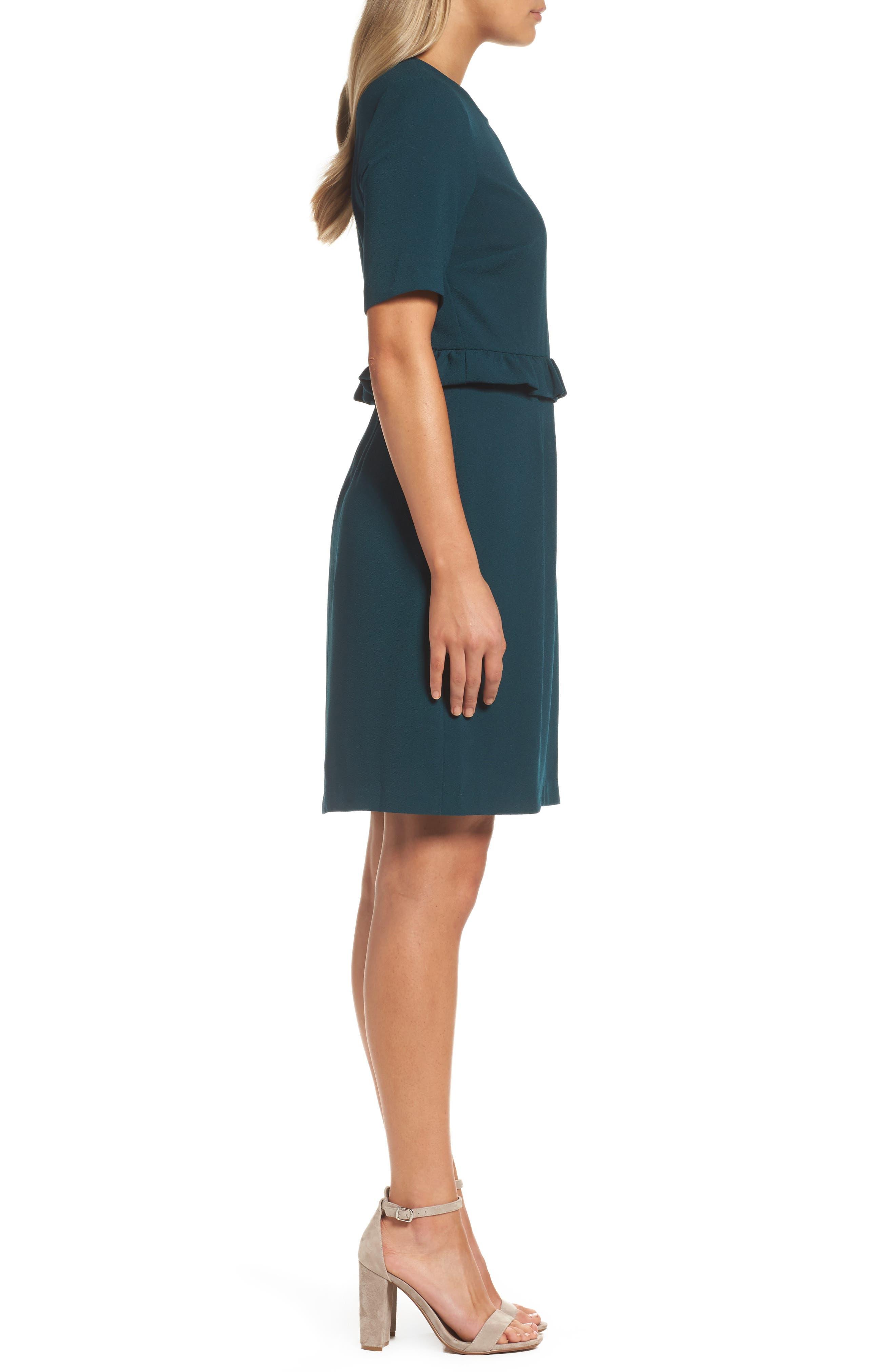 Ruffle Crepe Sheath Dress,                             Alternate thumbnail 3, color,                             345