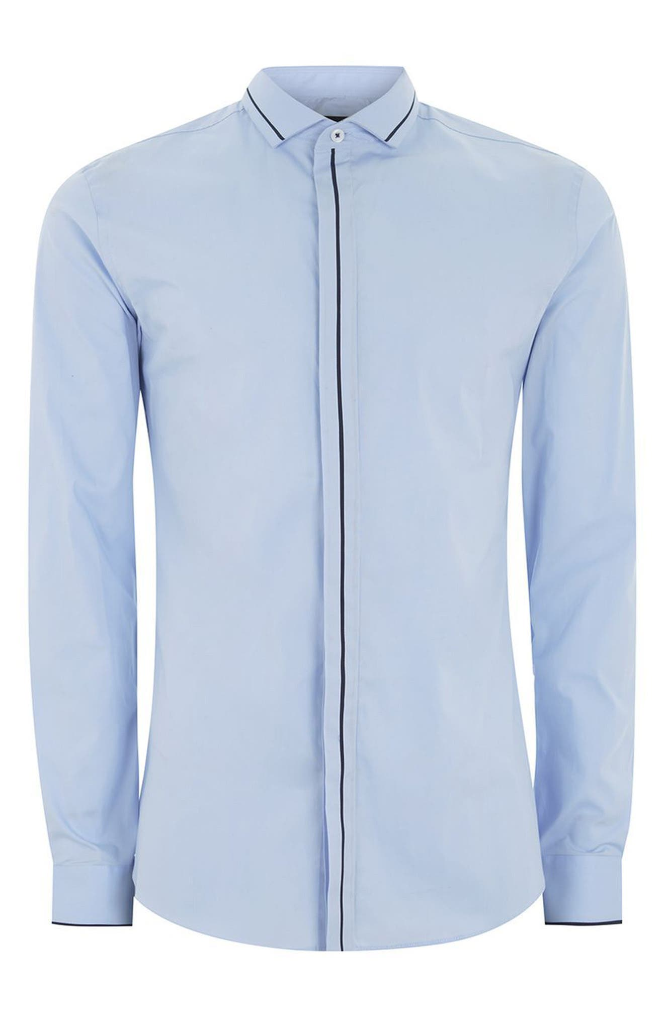 TOPMAN,                             Classic Fit Stripe Smart Shirt,                             Alternate thumbnail 4, color,                             450