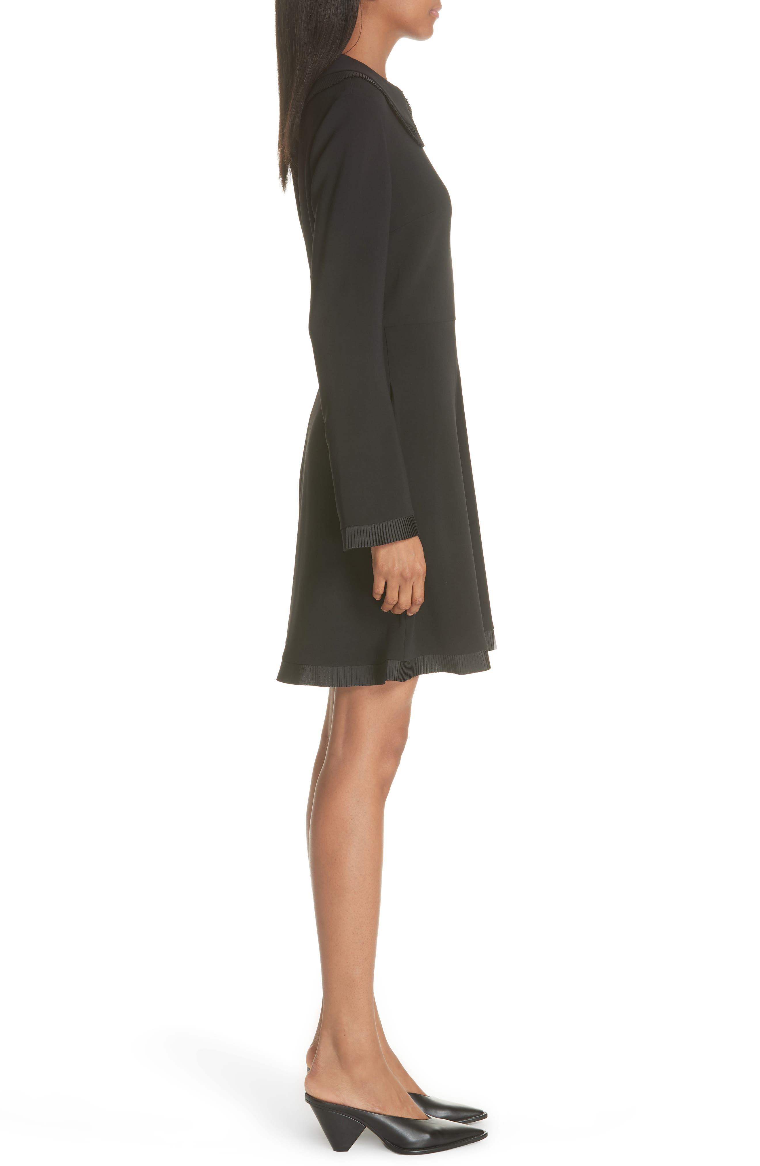 Ruffle Trim Keyhole Dress,                             Alternate thumbnail 3, color,                             BLACK