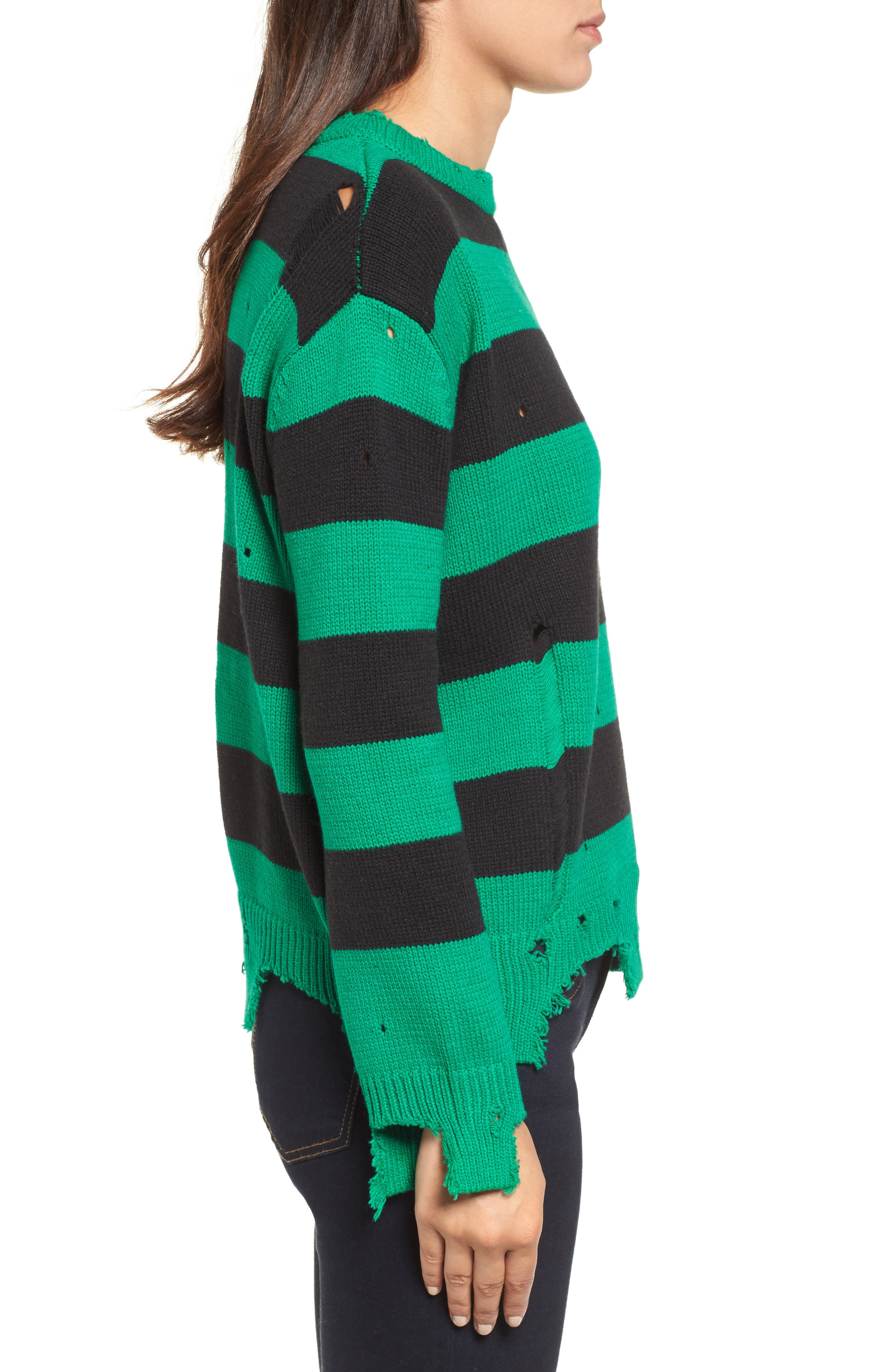 Destroyed Stripe Sweater,                             Alternate thumbnail 3, color,                             300