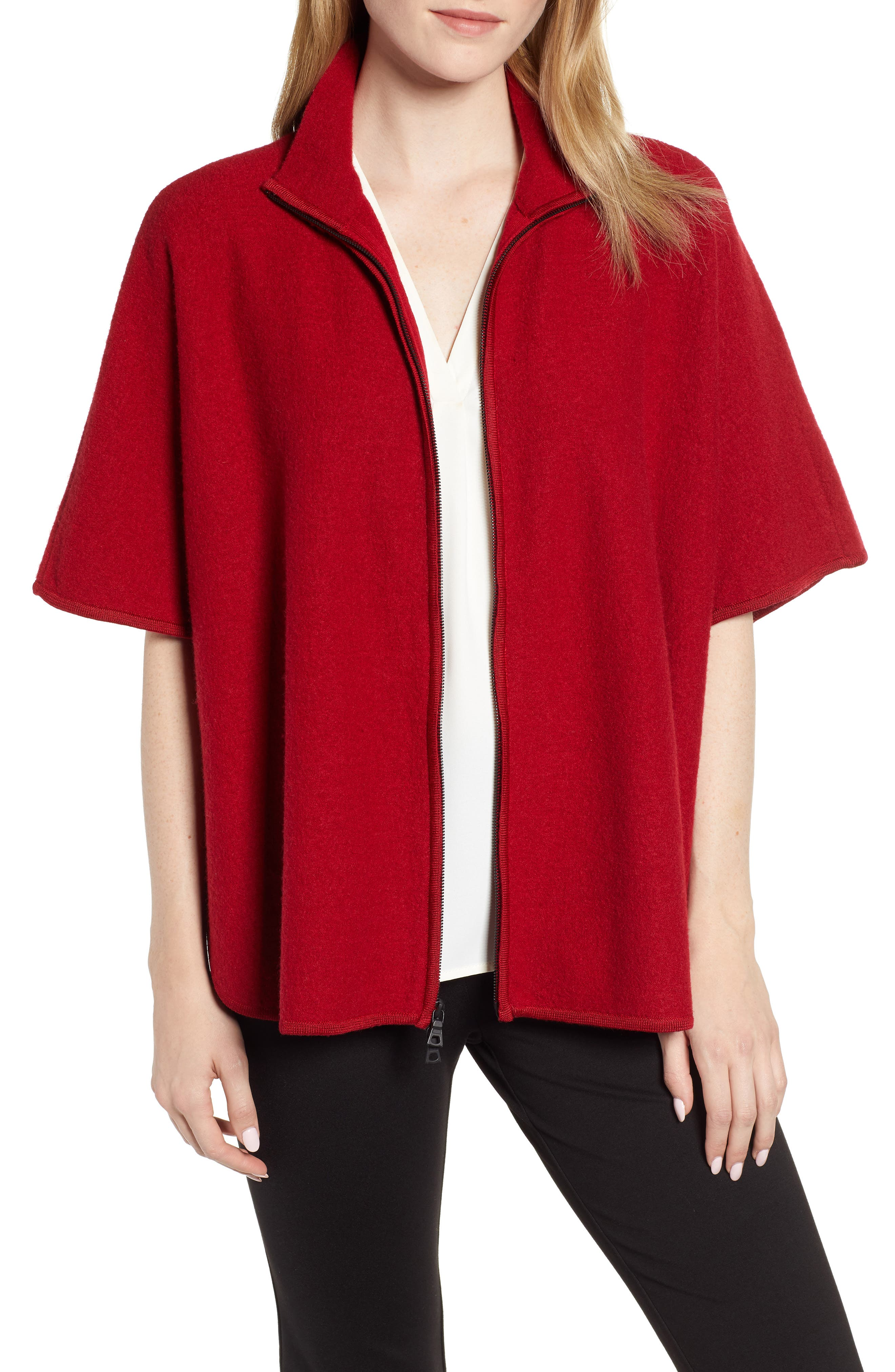 ANNE KLEIN Zip Front Cape Jacket in Vicuna