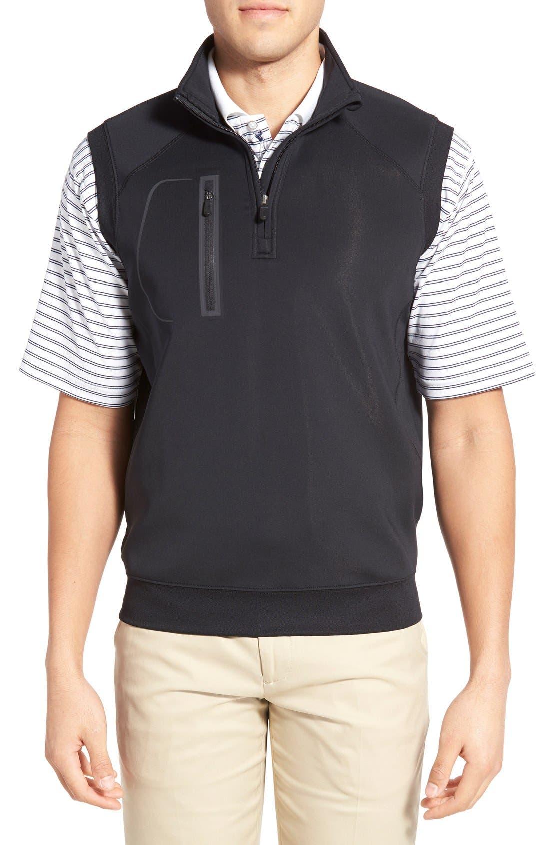 XH2O Crawford Stretch Quarter Zip Golf Vest,                             Main thumbnail 1, color,                             001