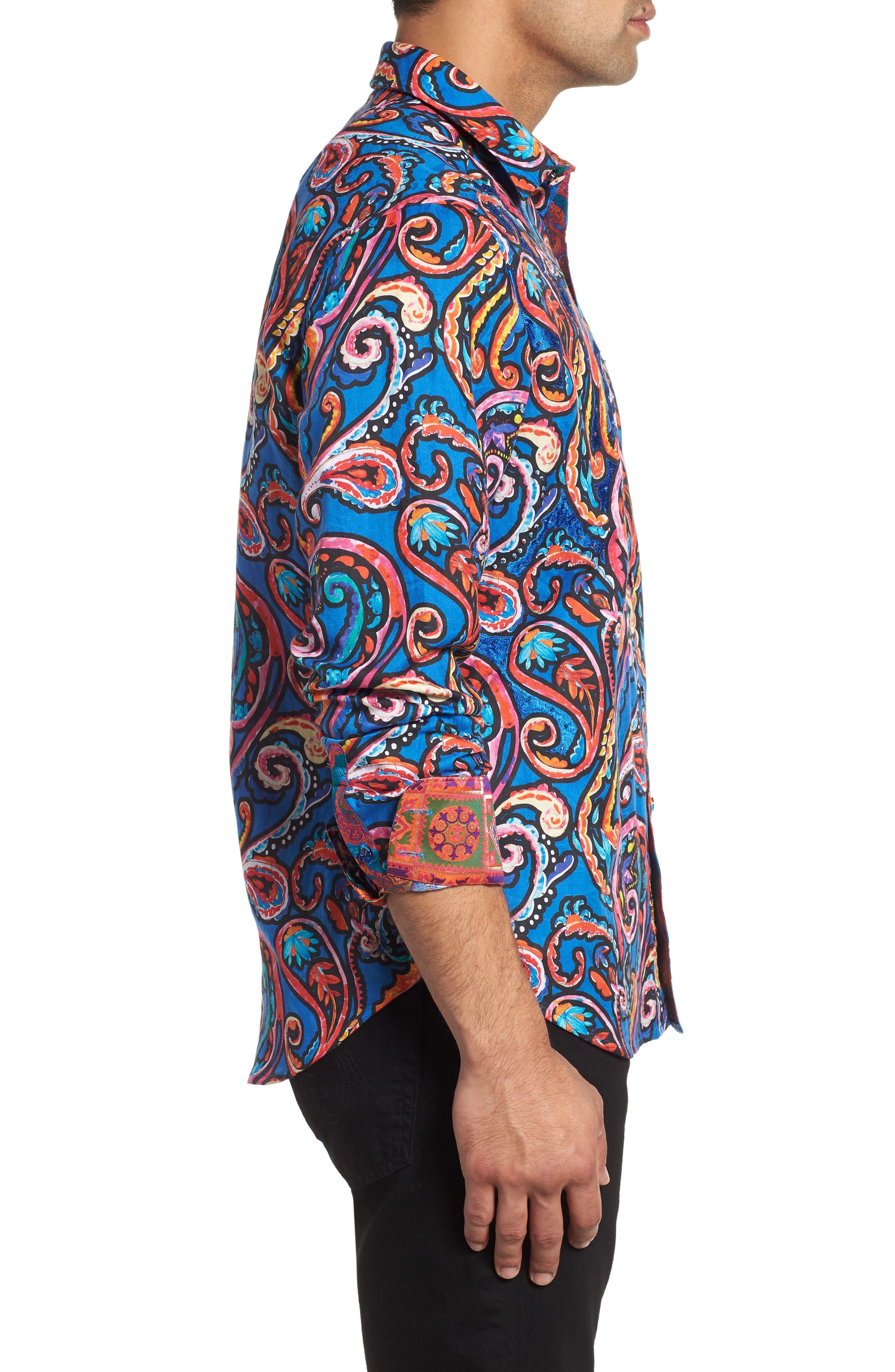 ROBERT GRAHAM,                             The Encourager Limited Edition Linen Blend Sport Shirt,                             Alternate thumbnail 4, color,                             400