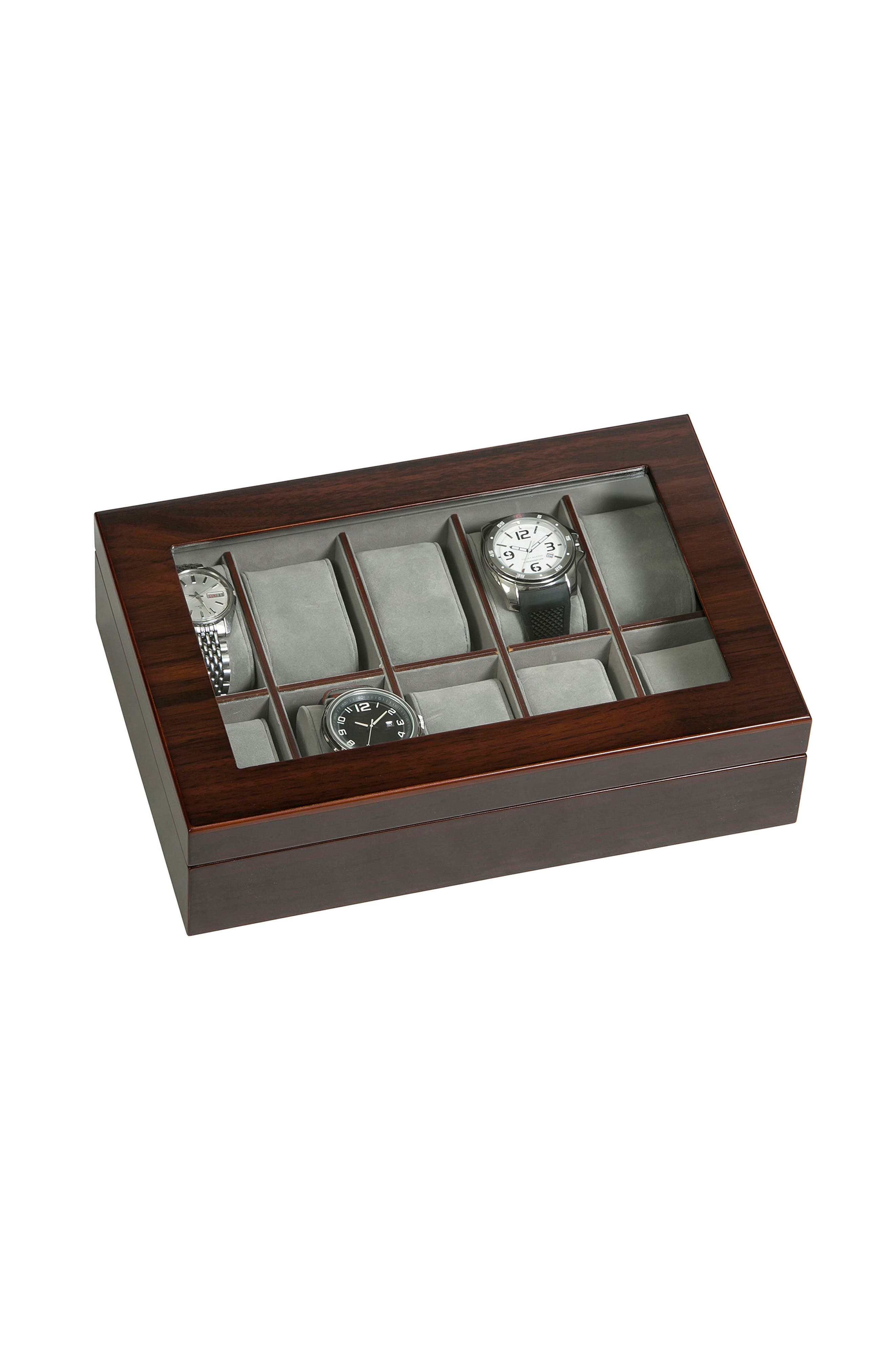 Hudson Glass Top Watch Box,                             Alternate thumbnail 4, color,                             200
